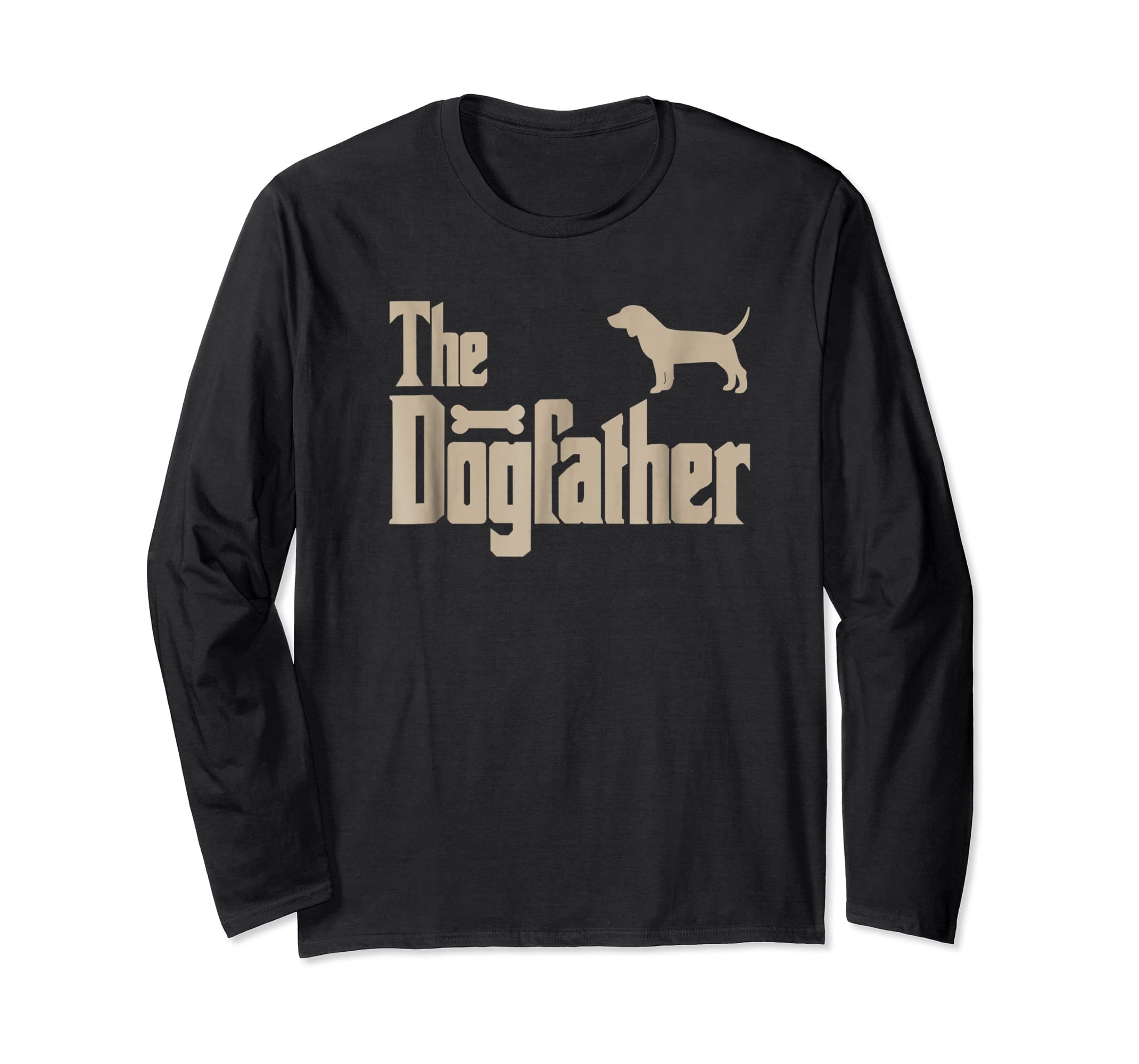 "Mens Beagle Dog Lovers Gifts ""The Dogfather"" Men Tee Shirts-Long Sleeve-Black"