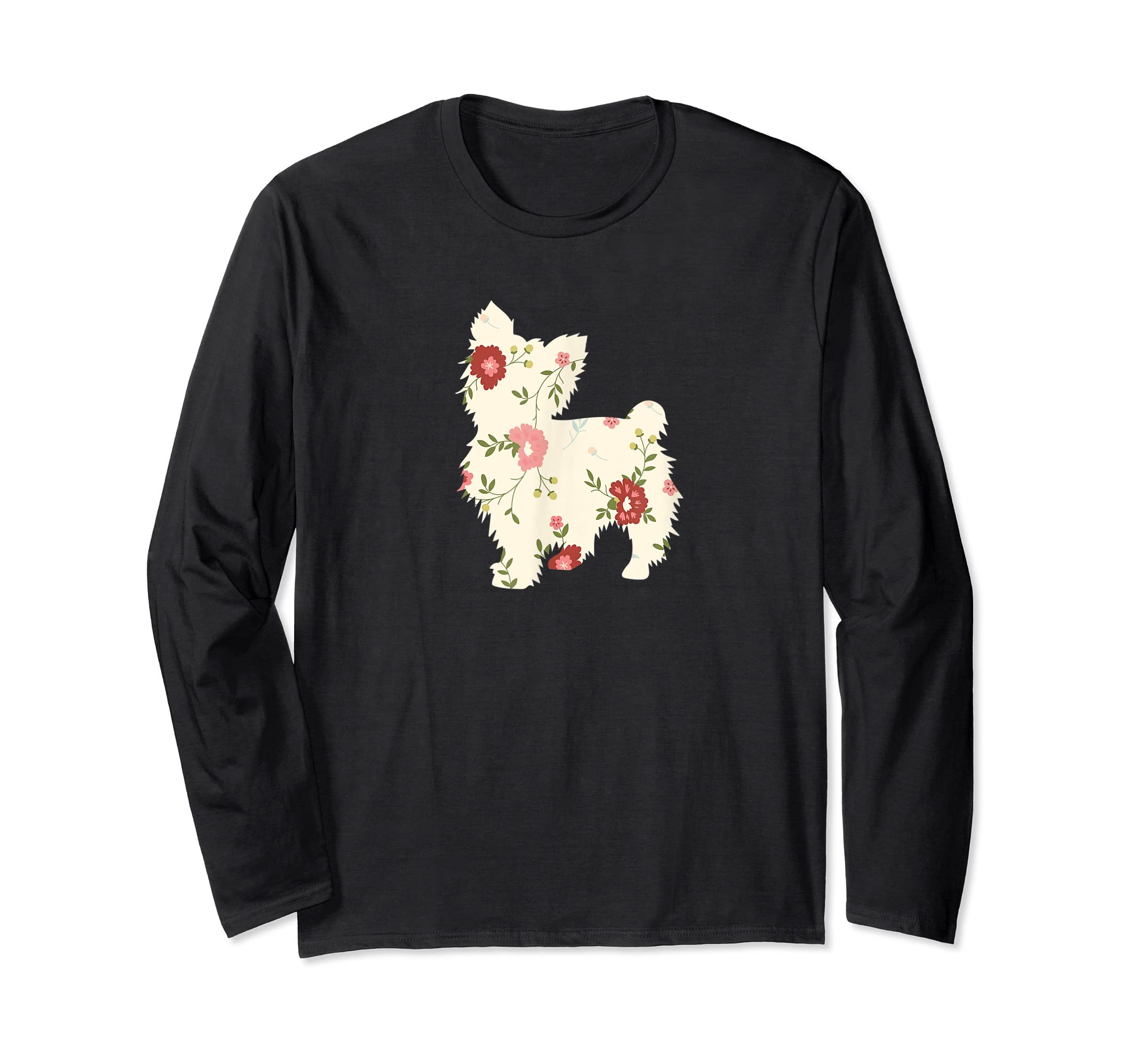 Yorkshire terrier Floral Vintage Dog Flower T-Shirt Gift Mom-Long Sleeve-Black