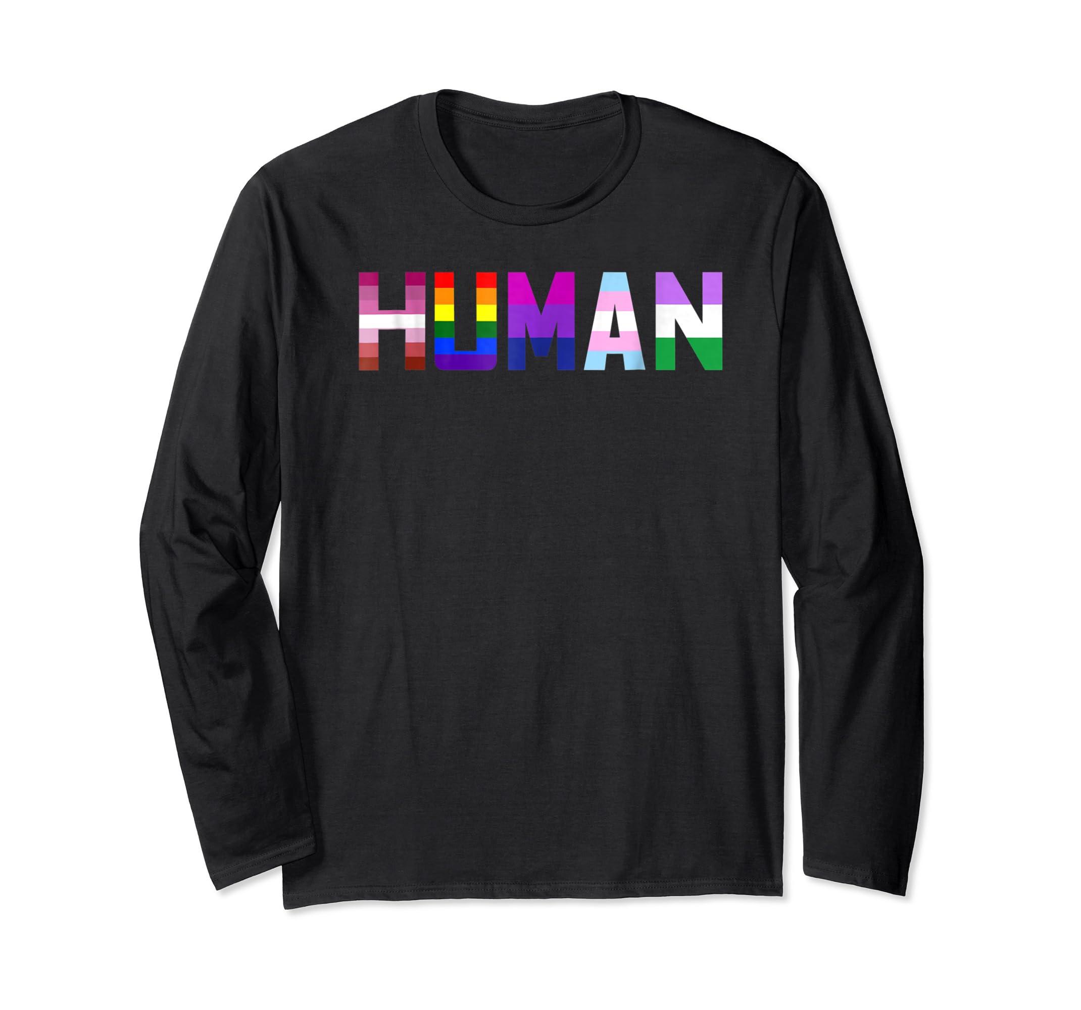 HUMAN Flag LGBT Gay Pride Month Transgender Ally T Shirt-Long Sleeve-Black