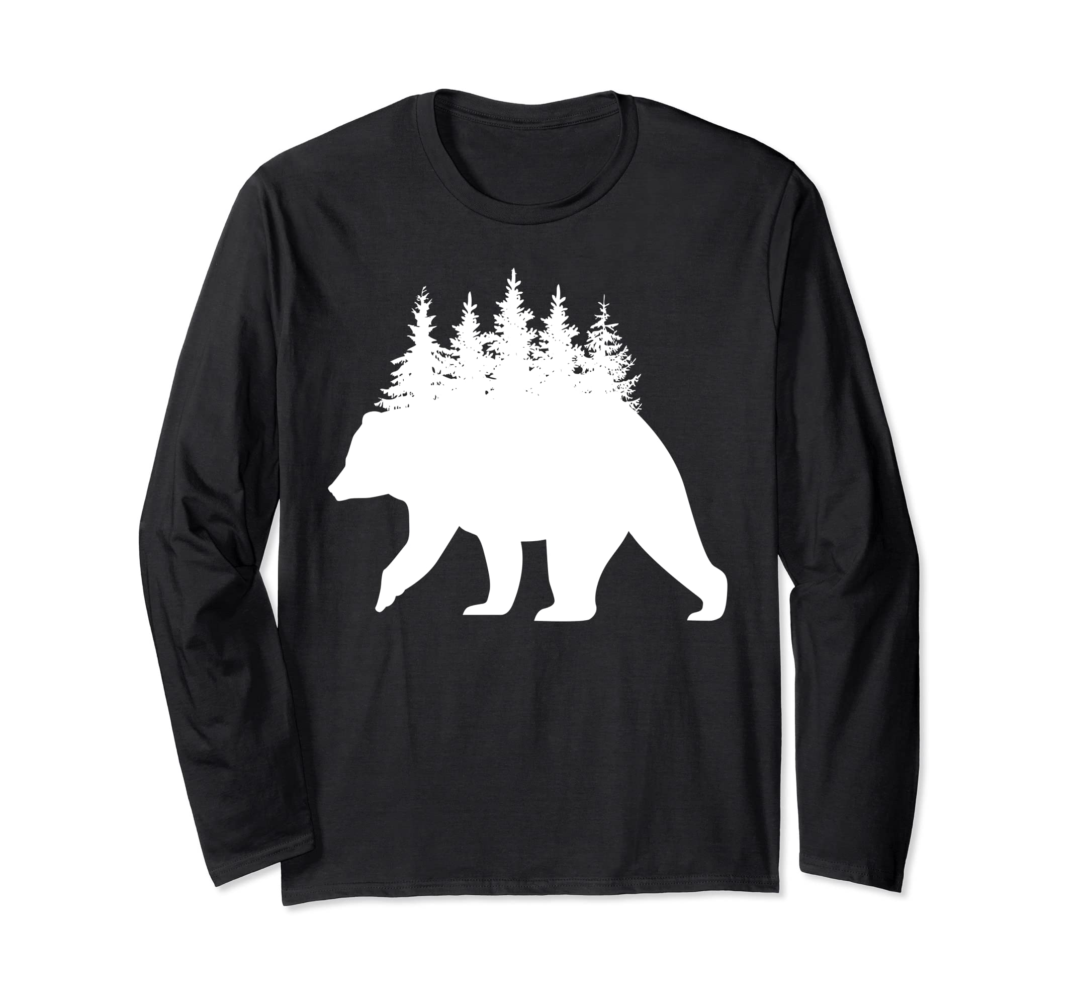 Bear Hunting Treeline Outdoors Wild Hunter Long Sleeve Shirt-Bawle