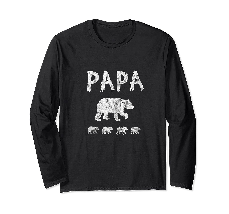 Dad Of 4 Or Quadruplets Papa Bear Shirts Long Sleeve T-shirt