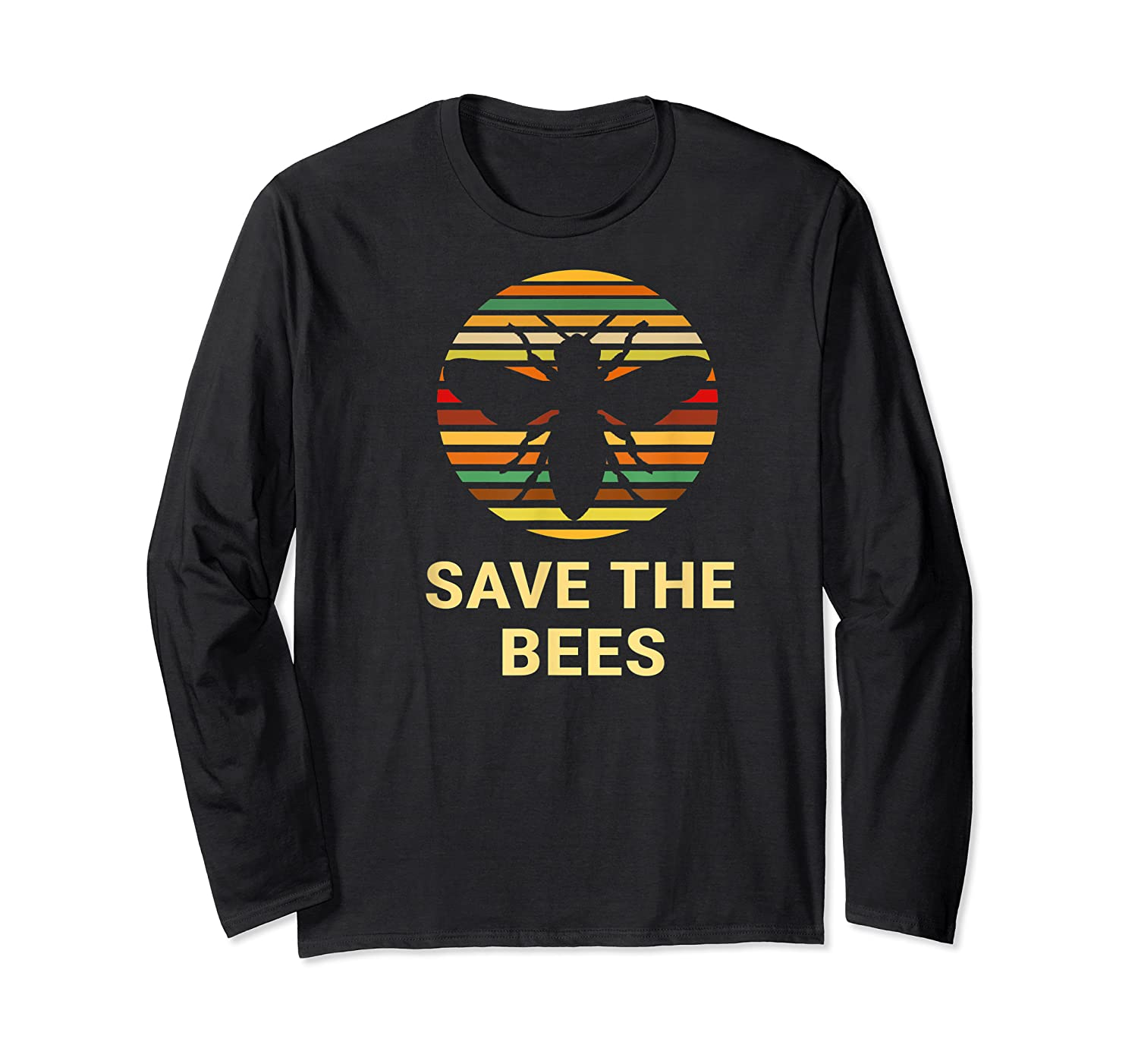 Save The Bees T Shirt Vintage Sunset Bees Gift Shirt Long Sleeve T-shirt
