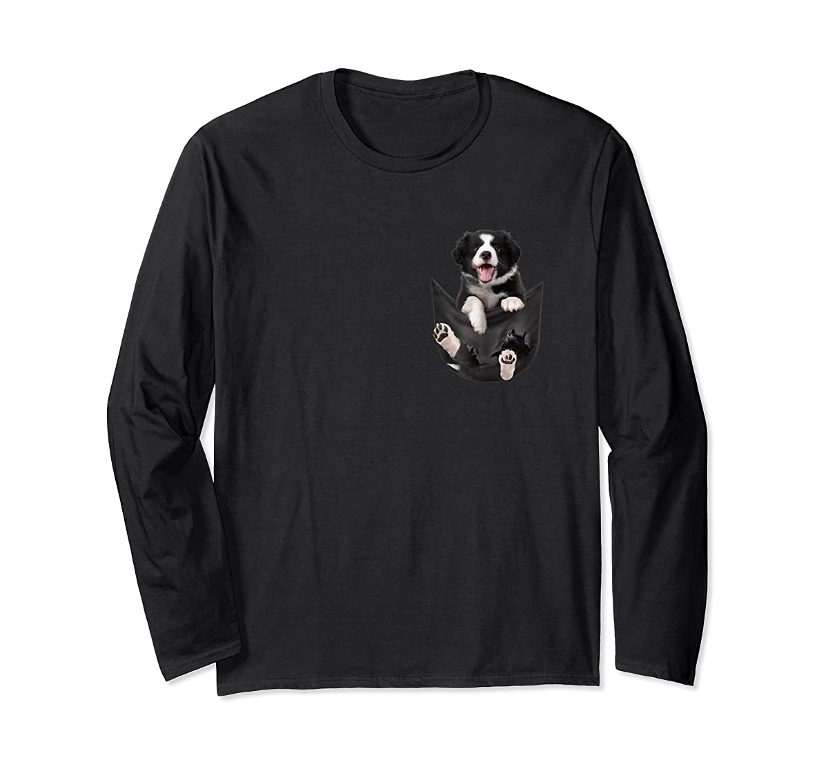 Border Collies Inside In Pocket Dog Lover T shirt Funny Cute-Long Sleeve-Black
