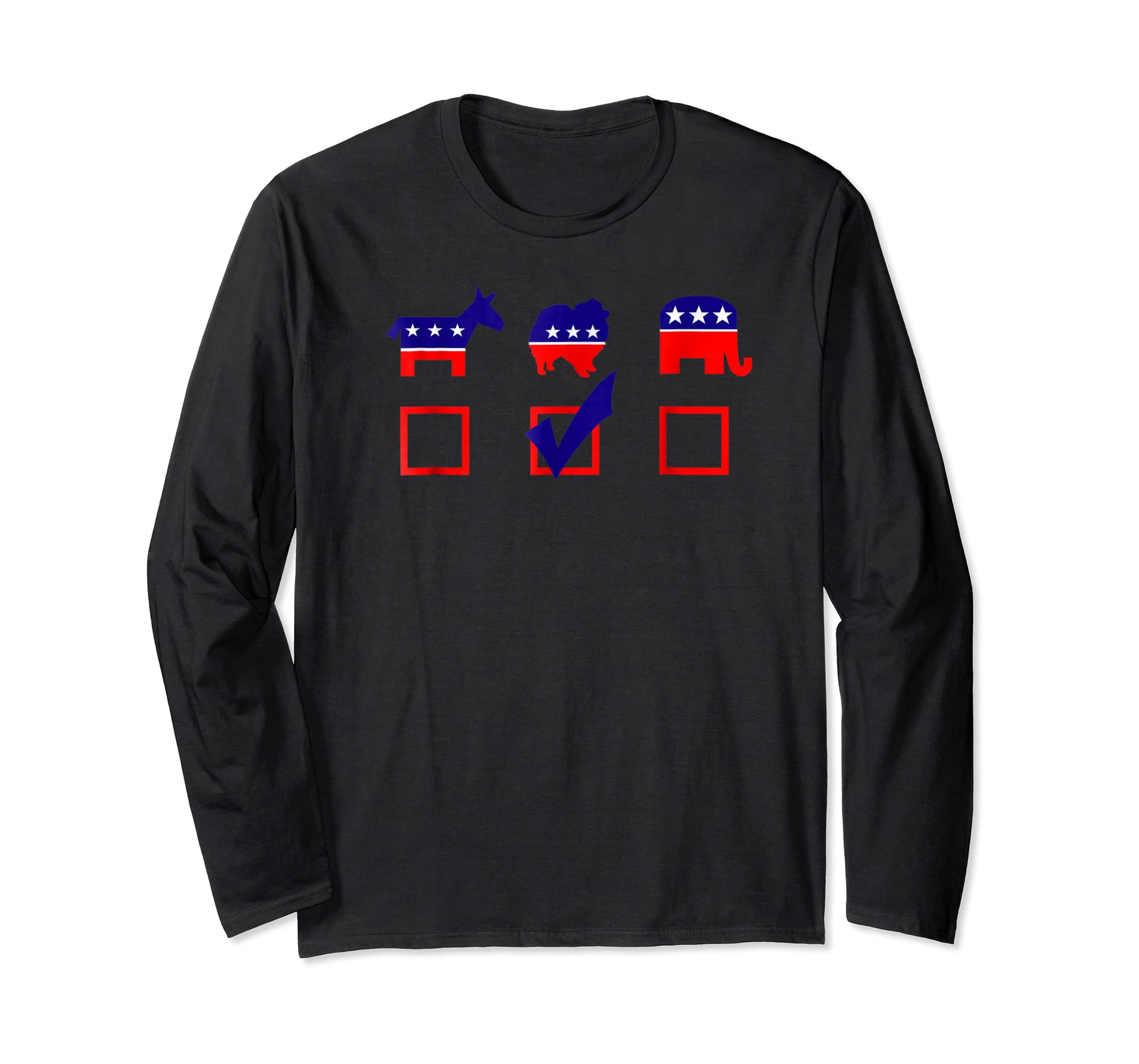 Vote Pomeranian For President T-shirt Cool Dog Lover Shirt-Long Sleeve-Black