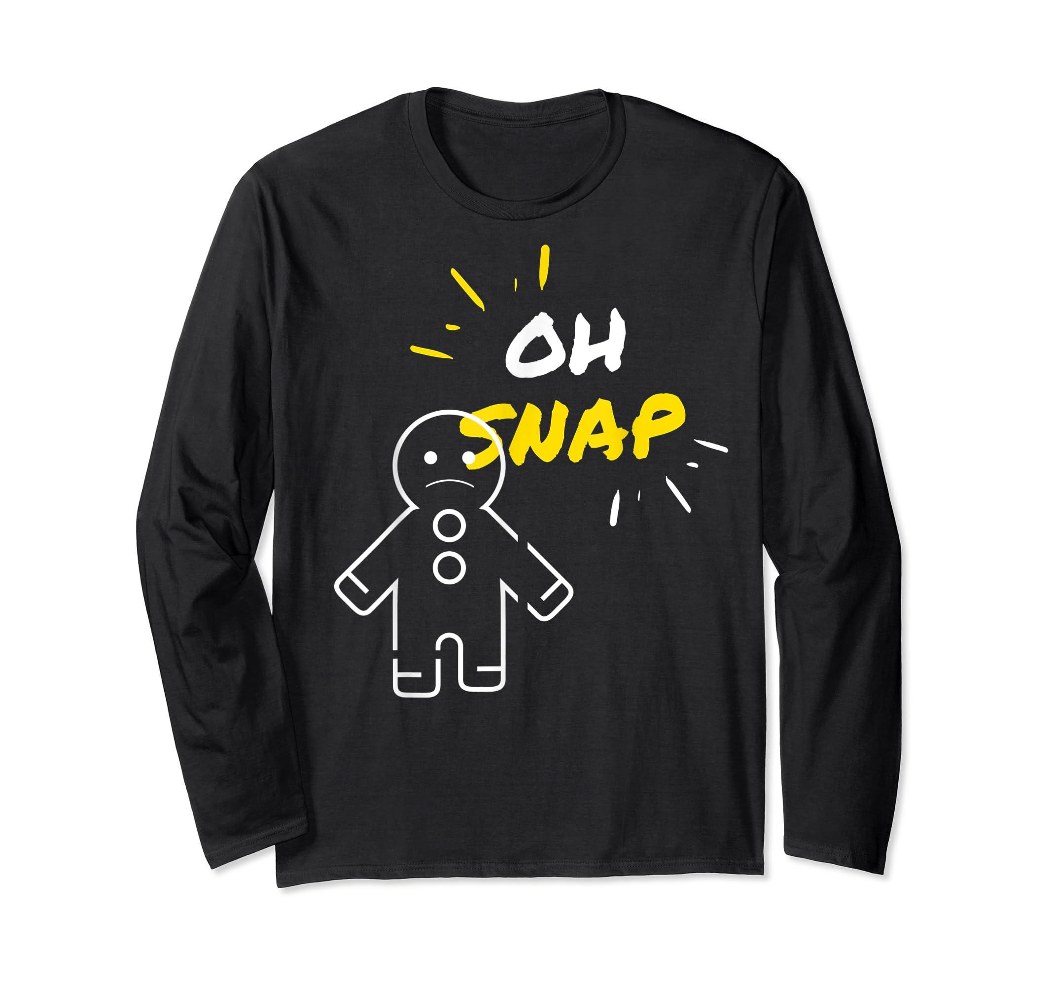 Oh Snap Christmas Gingerbread Man Holiday Cookies Funny T-Shirt-Long Sleeve-Black