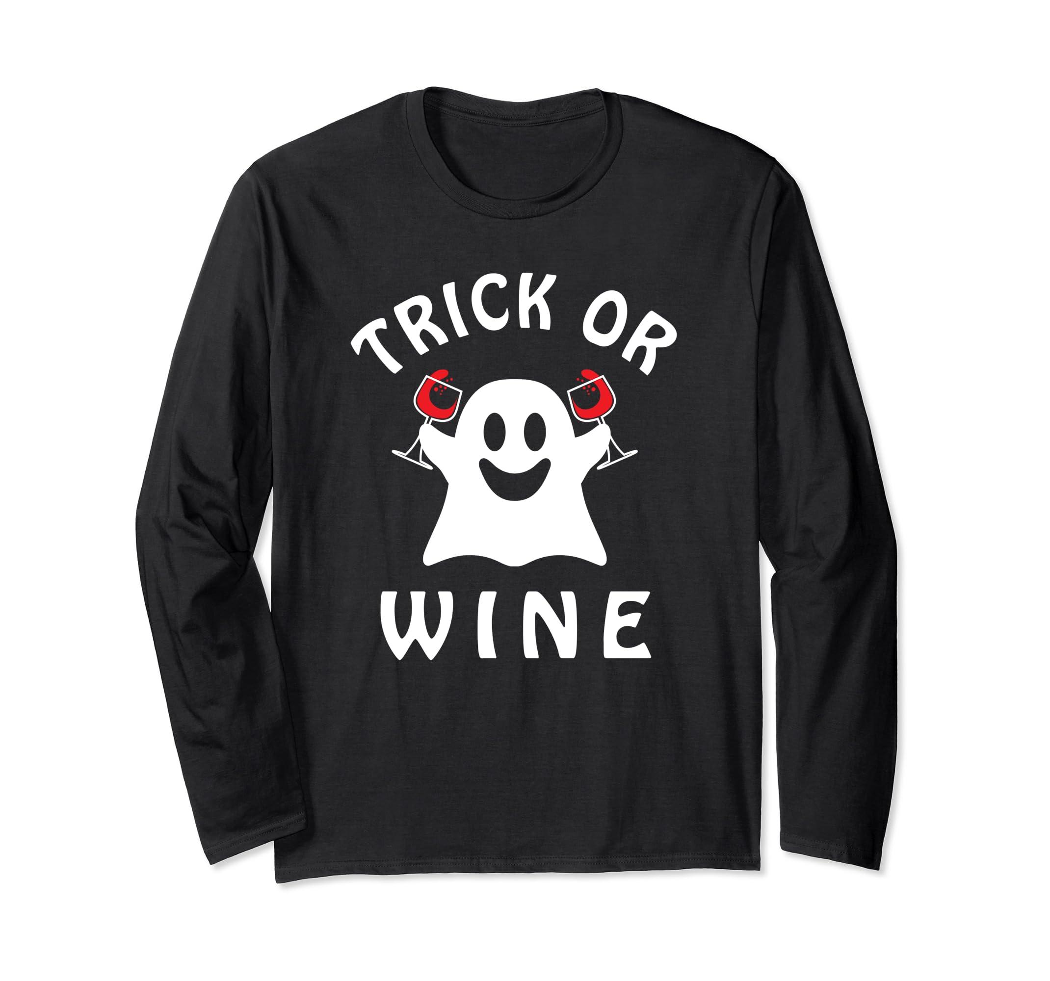 afb5ed609 Amazon.com: Trick or Wine Funny Halloween Drinking Long Sleeve Shirt:  Clothing