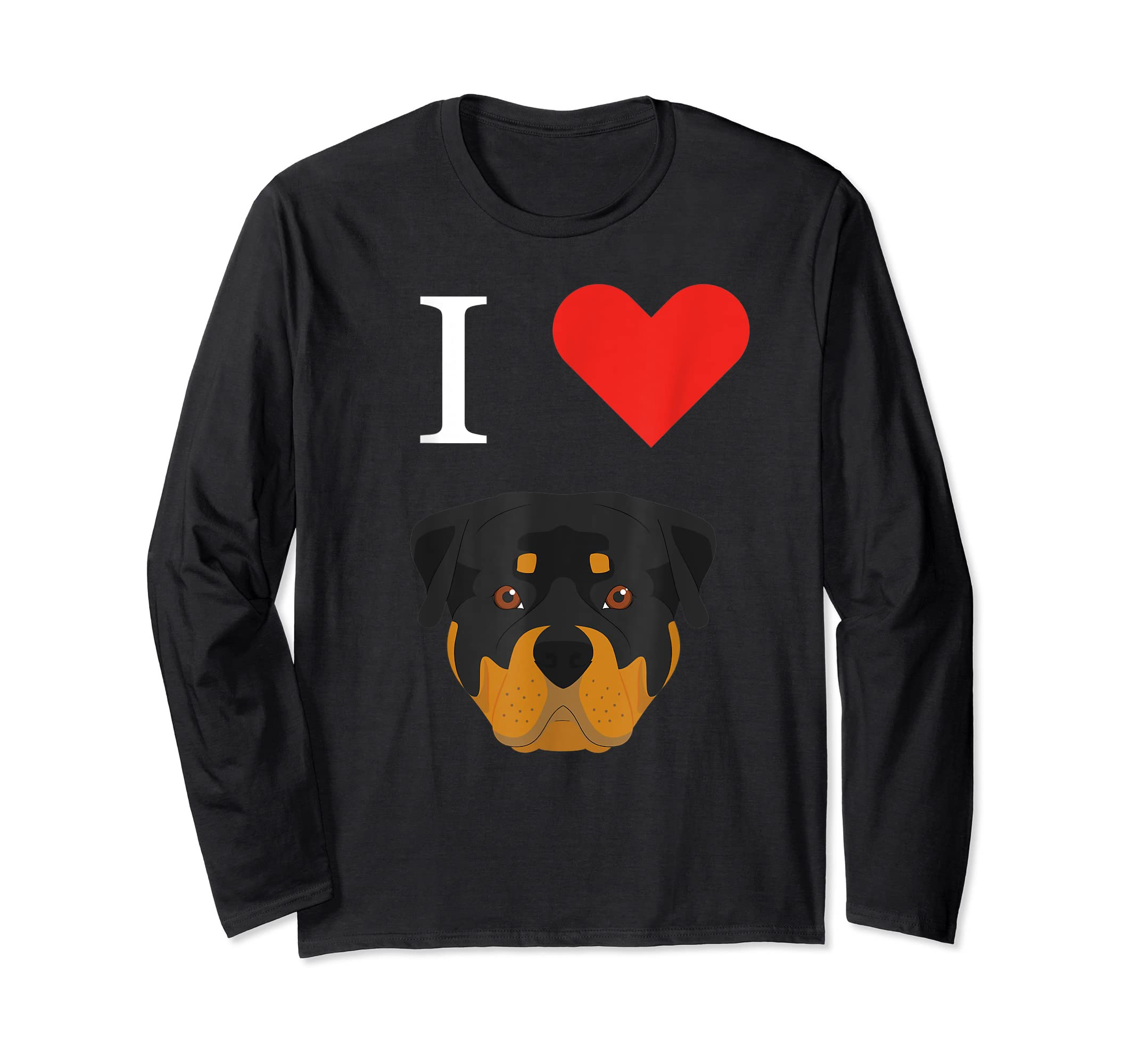 I Love My Rottweiler Dog T-Shirt-Long Sleeve-Black