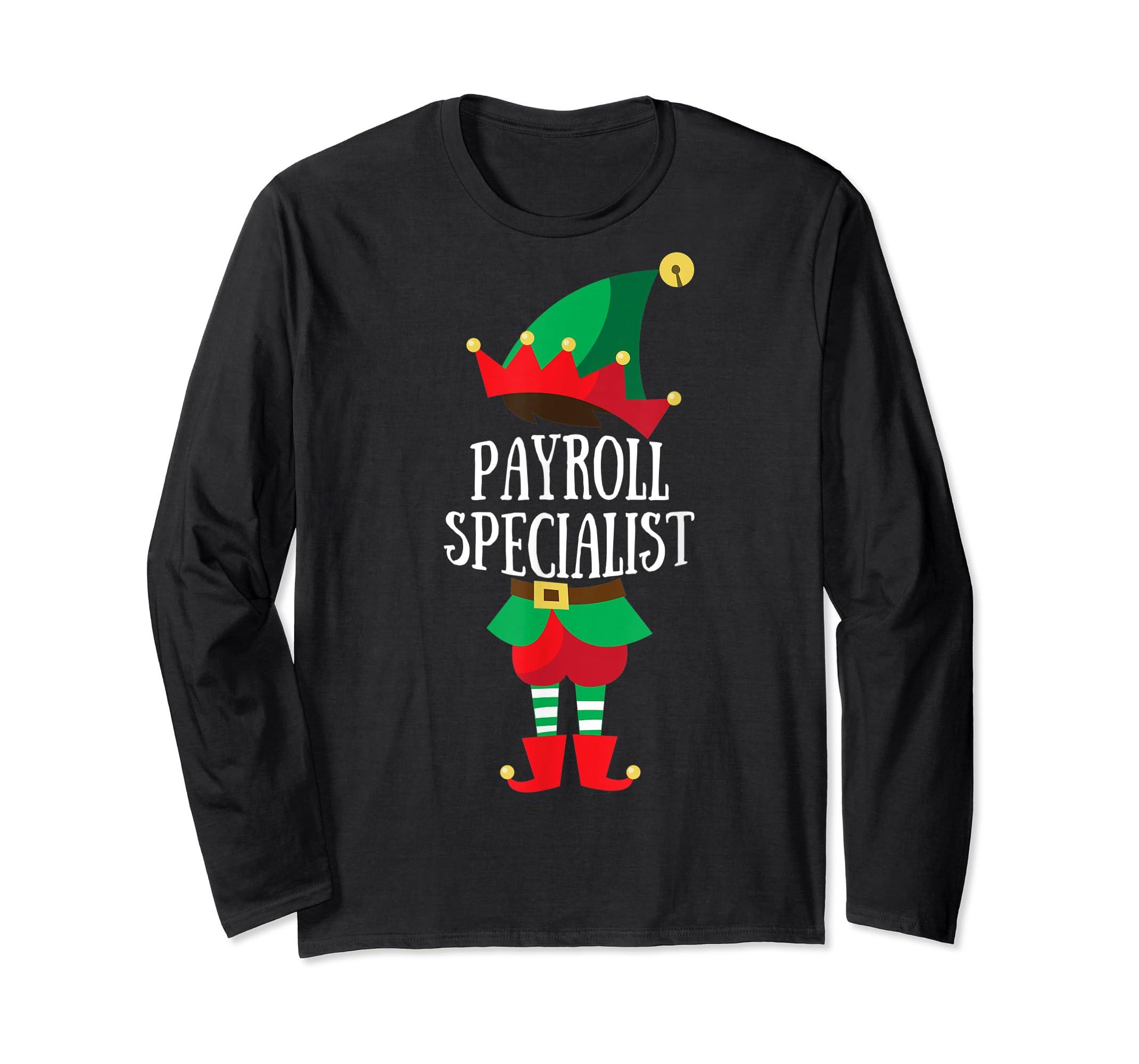 Elf Payroll Specialist Christmas Group Matching T-Shirt-Long Sleeve-Black