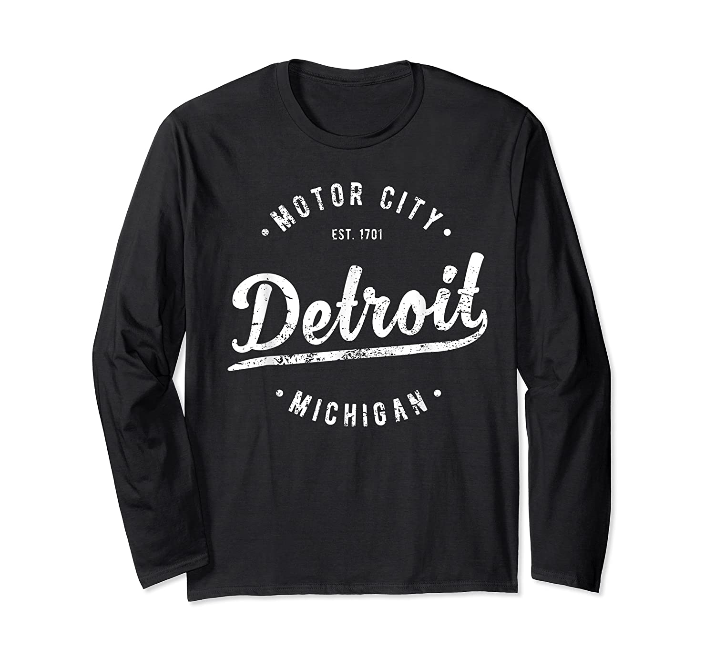 Retro Vintage Detroit Michigan Motor City T Shirt Souvenir Long Sleeve T-shirt