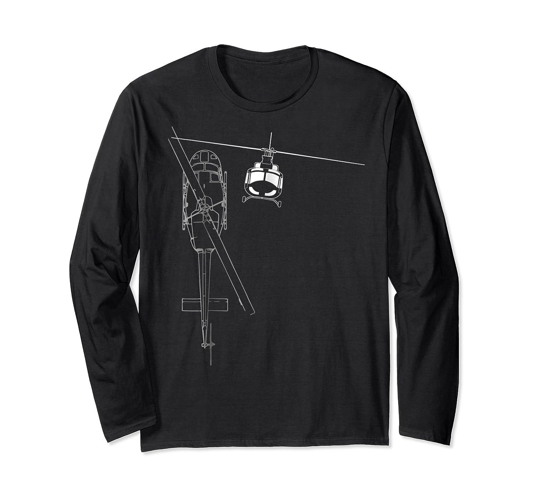 Uh 1 Huey Helicopter Line Art Shirts Long Sleeve T-shirt