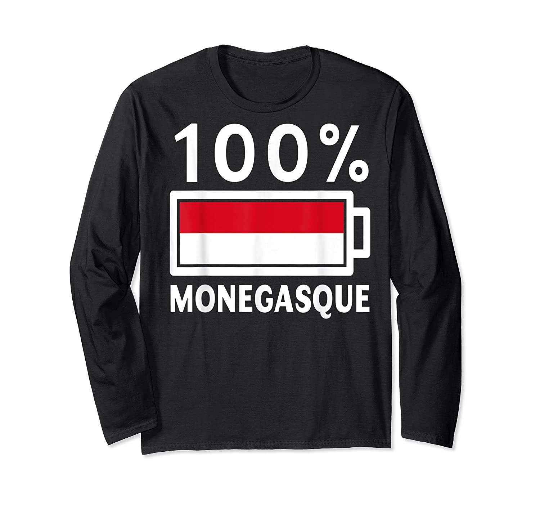 Monaco Flag T Shirt 100 Monegasque Battery Power Tee Long Sleeve T-shirt