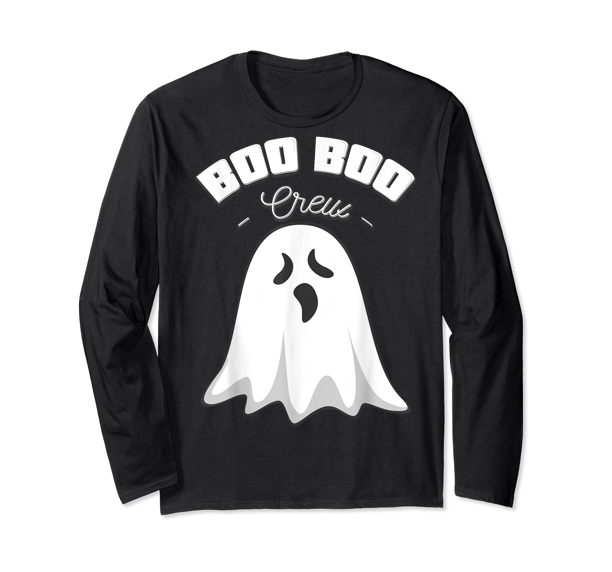 Boo Boo Crew Ghost Funny Halloween Black and Orange Night T-Shirt-Long Sleeve-Black