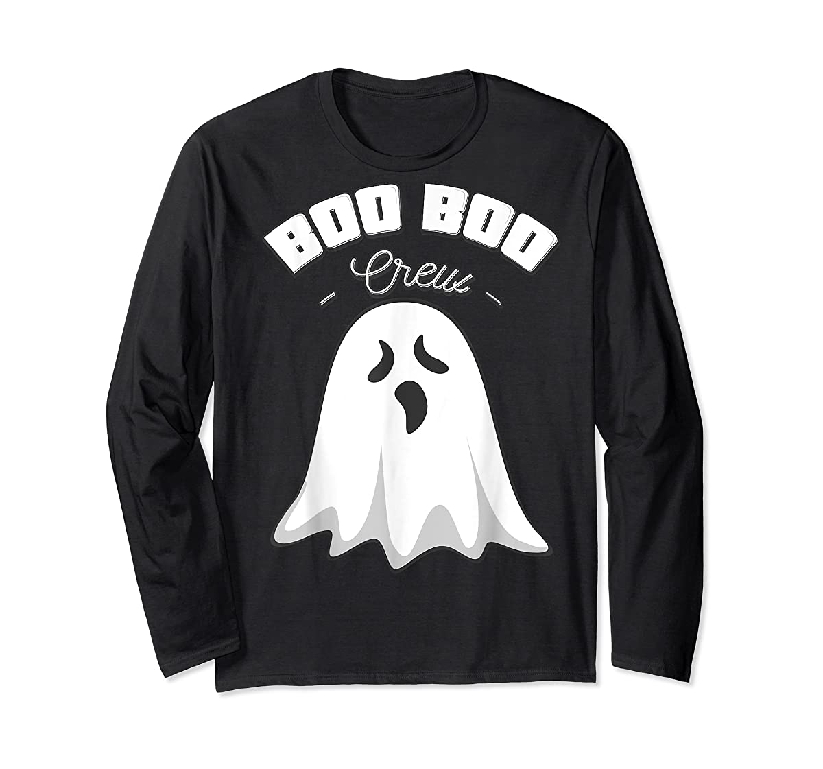 Boo Boo Crew Ghost Funny Halloween Black and Orange Night  T-Shirt-Long Sleeve-Black
