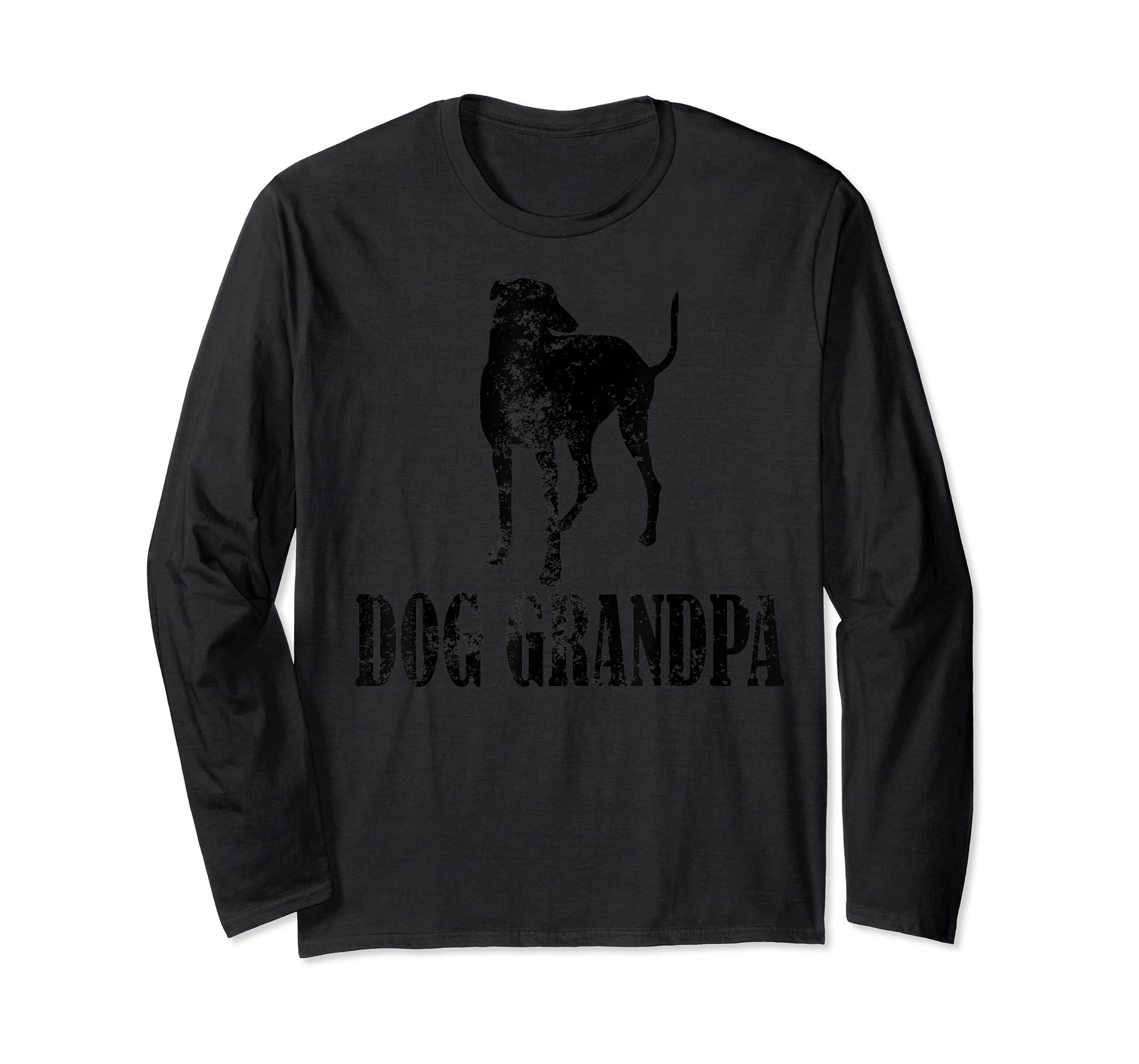 Father's Day T Shirt Greyhound Dog Grandpa T-Shirt Gifts-Long Sleeve-Black
