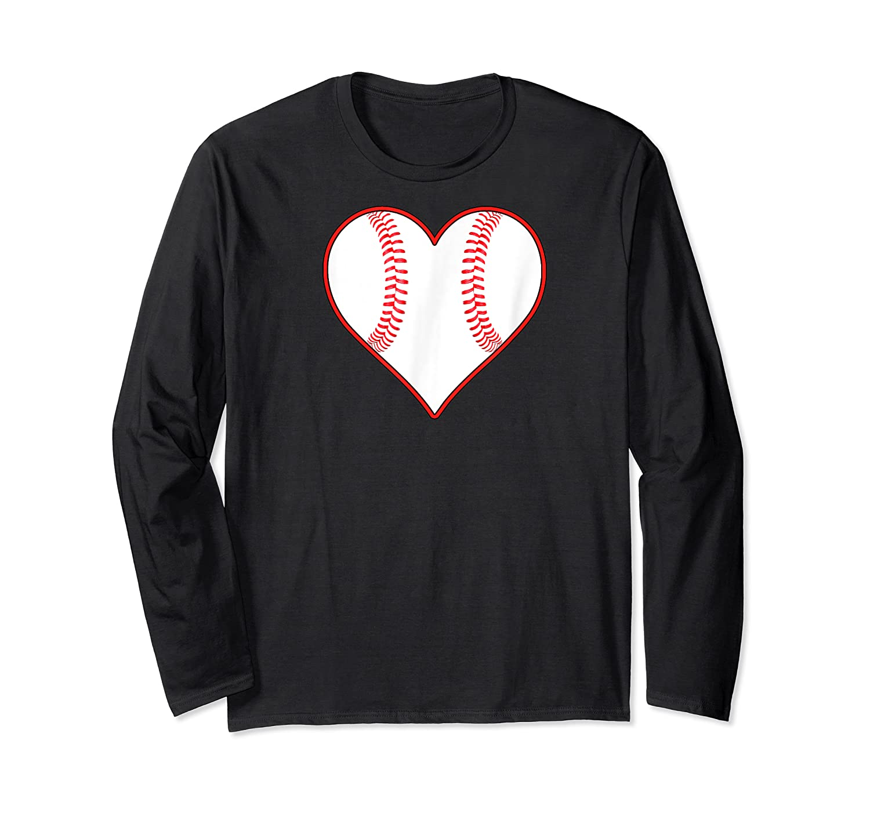 Baseball Player, Coach Or Fan Heart Shaped Baseball Graphic Shirts Long Sleeve T-shirt