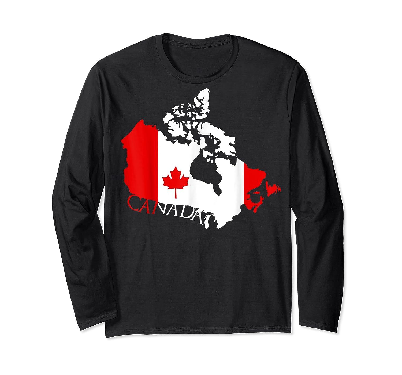 Proud Canada Flag Map T-shirts Maple Leaf Shirt Canada Day T-shirt Long Sleeve T-shirt