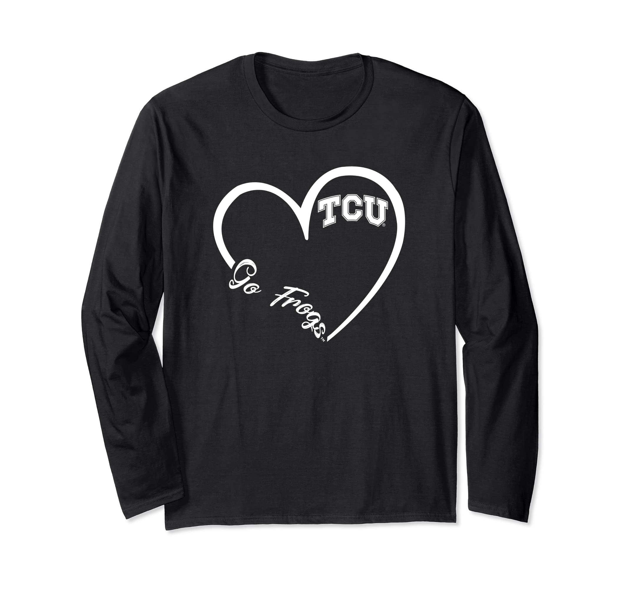 TCU Horned Frogs Heart 3/4 Long Sleeve T-Shirt - Apparel-SFL