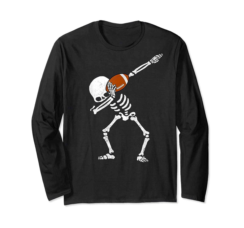 Halloween Dabbing Skeleton Football Dab Soccer Ball Shirts Long Sleeve T-shirt