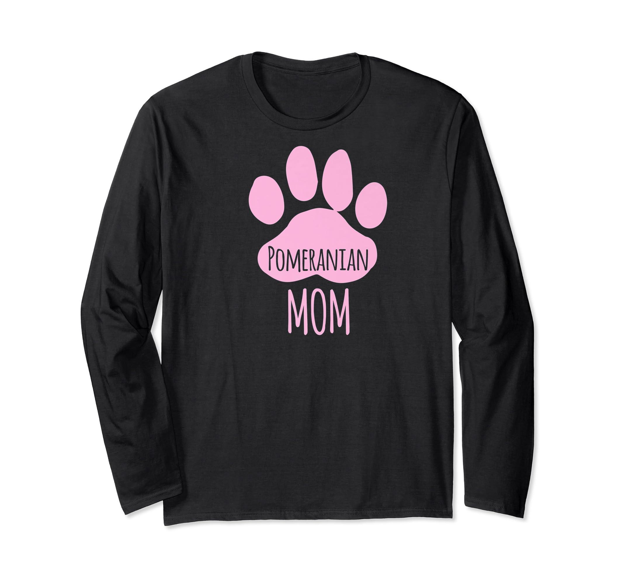 Cute Pomeranian Mom T Shirt for Pom Owner Dog Paw Pink-Long Sleeve-Black