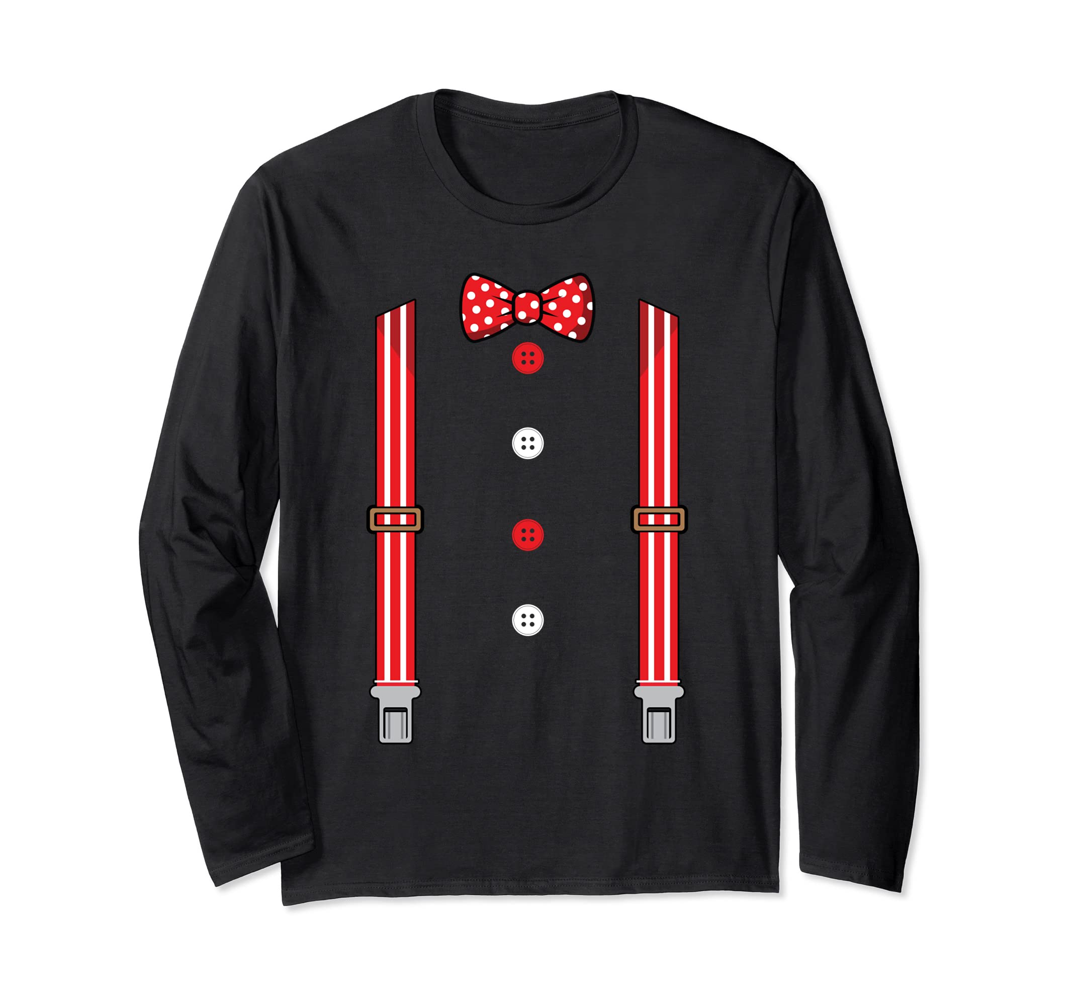 Clown Costume Halloween Circus Suspenders Long Sleeve Shirt-Bawle