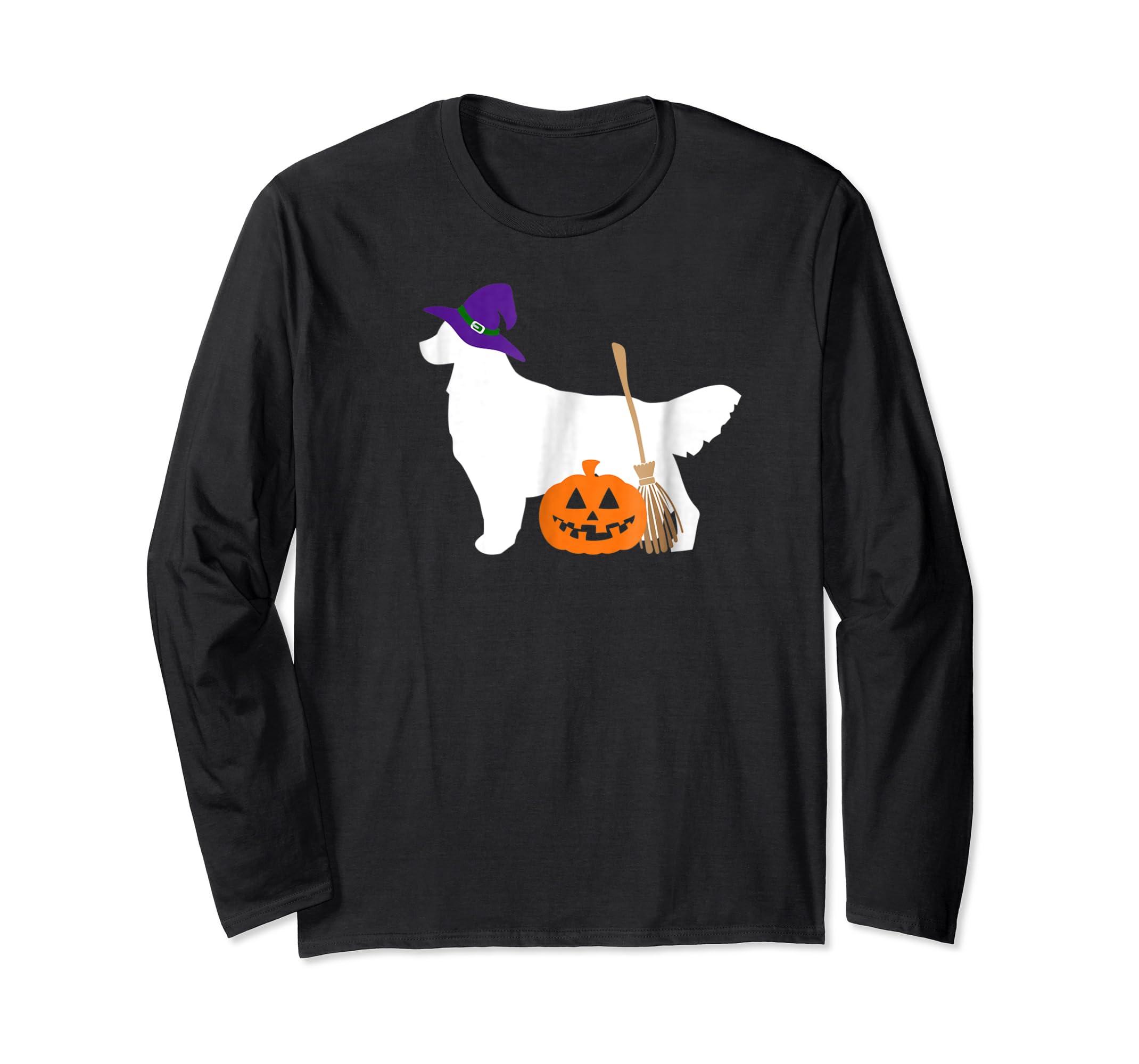 Golden Retriever Witch Hat Halloween Dog T-Shirt-Long Sleeve-Black