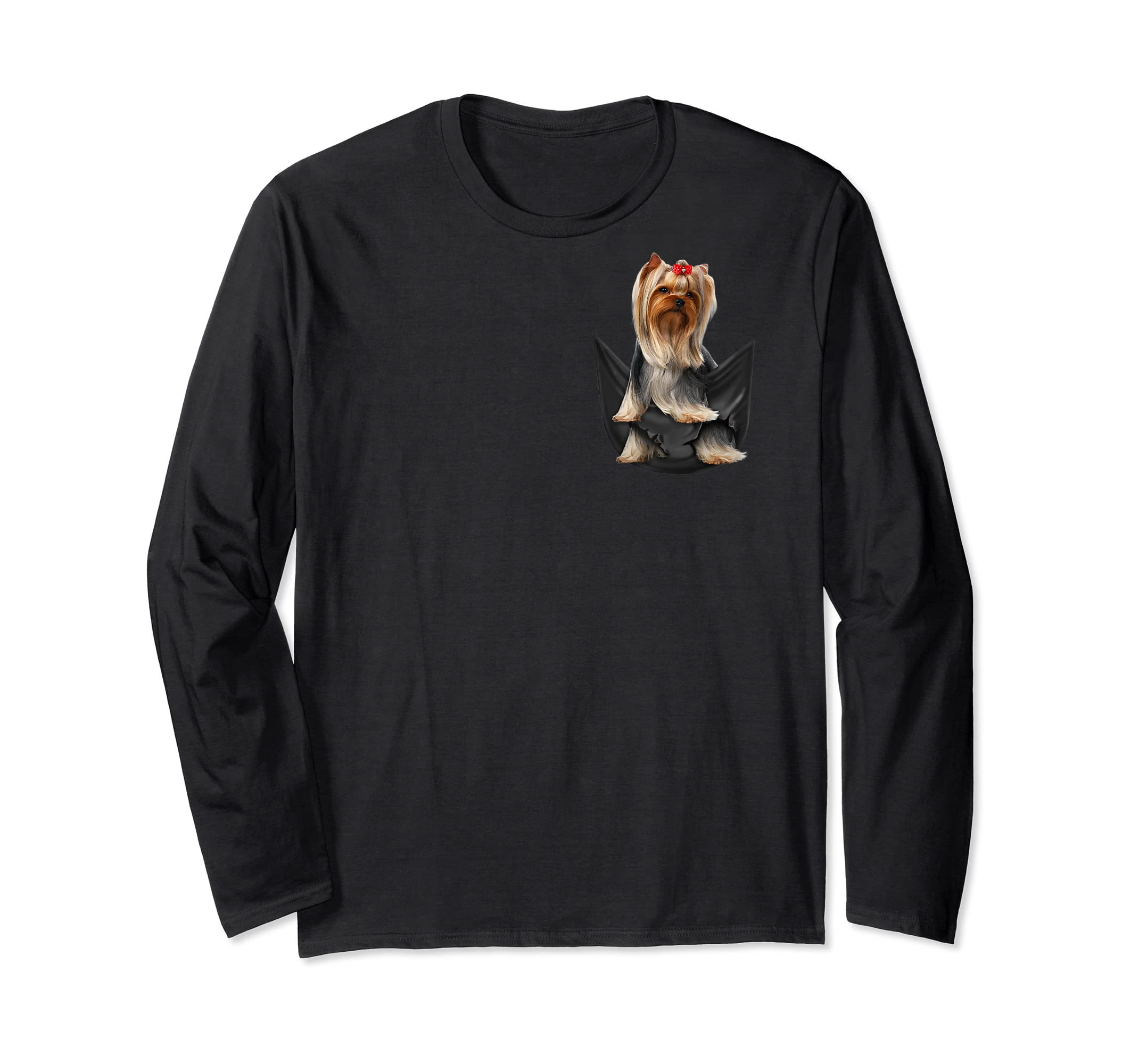 Yorkshire Terrier In Your Pocket Dog Lover Funny Gift Tshirt-Long Sleeve-Black
