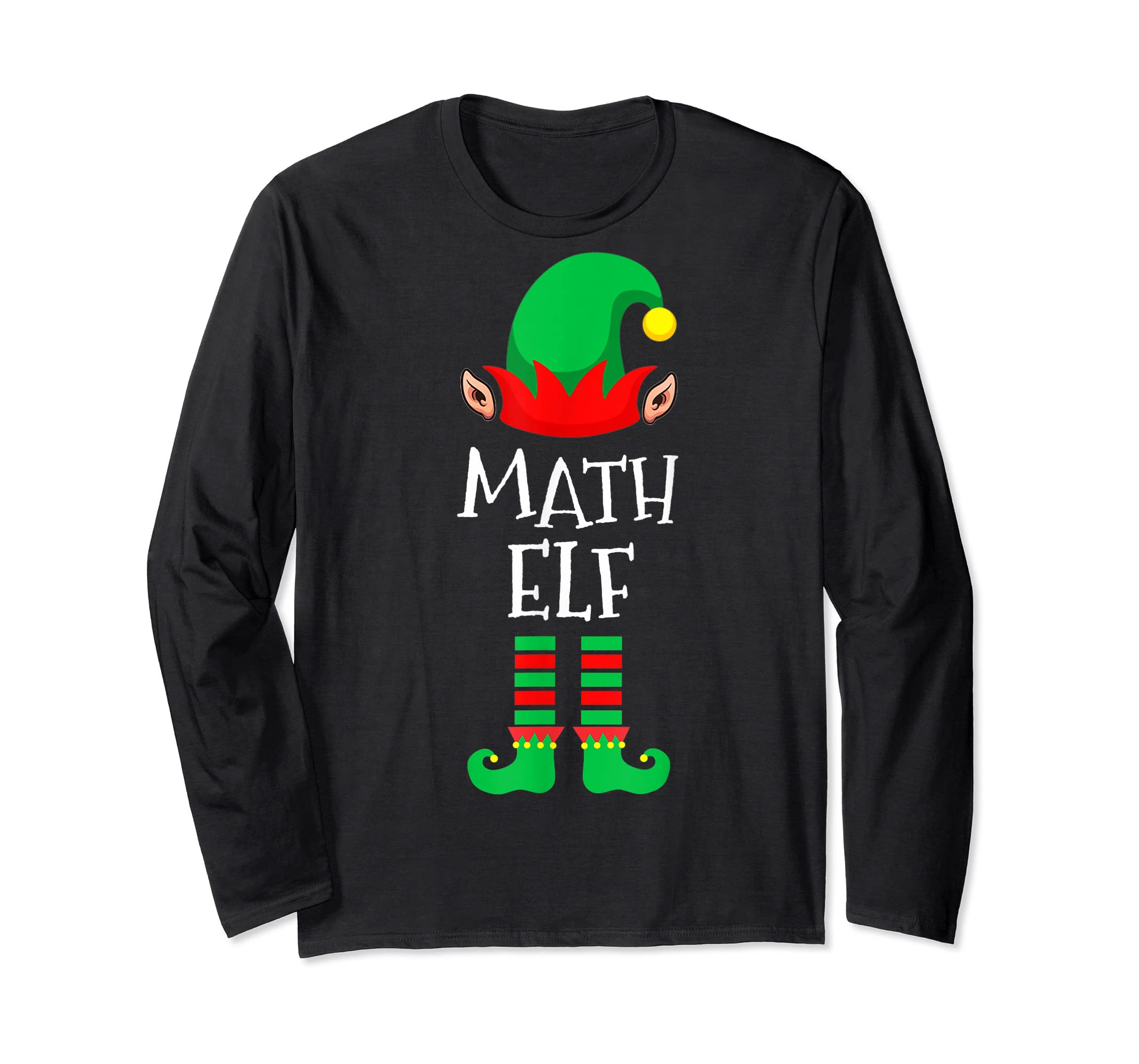 Math Elf - Funny School Teacher Christmas T-Shirt-Long Sleeve-Black