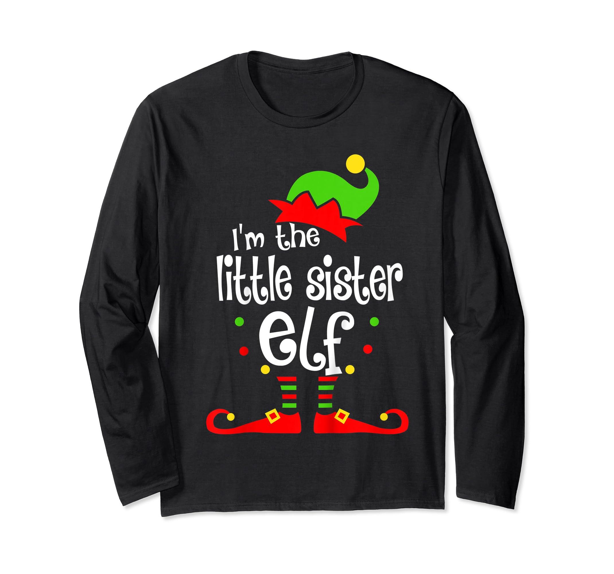 Kids Little Sister Elf Christmas Costume Outfit Xmas Gift T-Shirt-Long Sleeve-Black