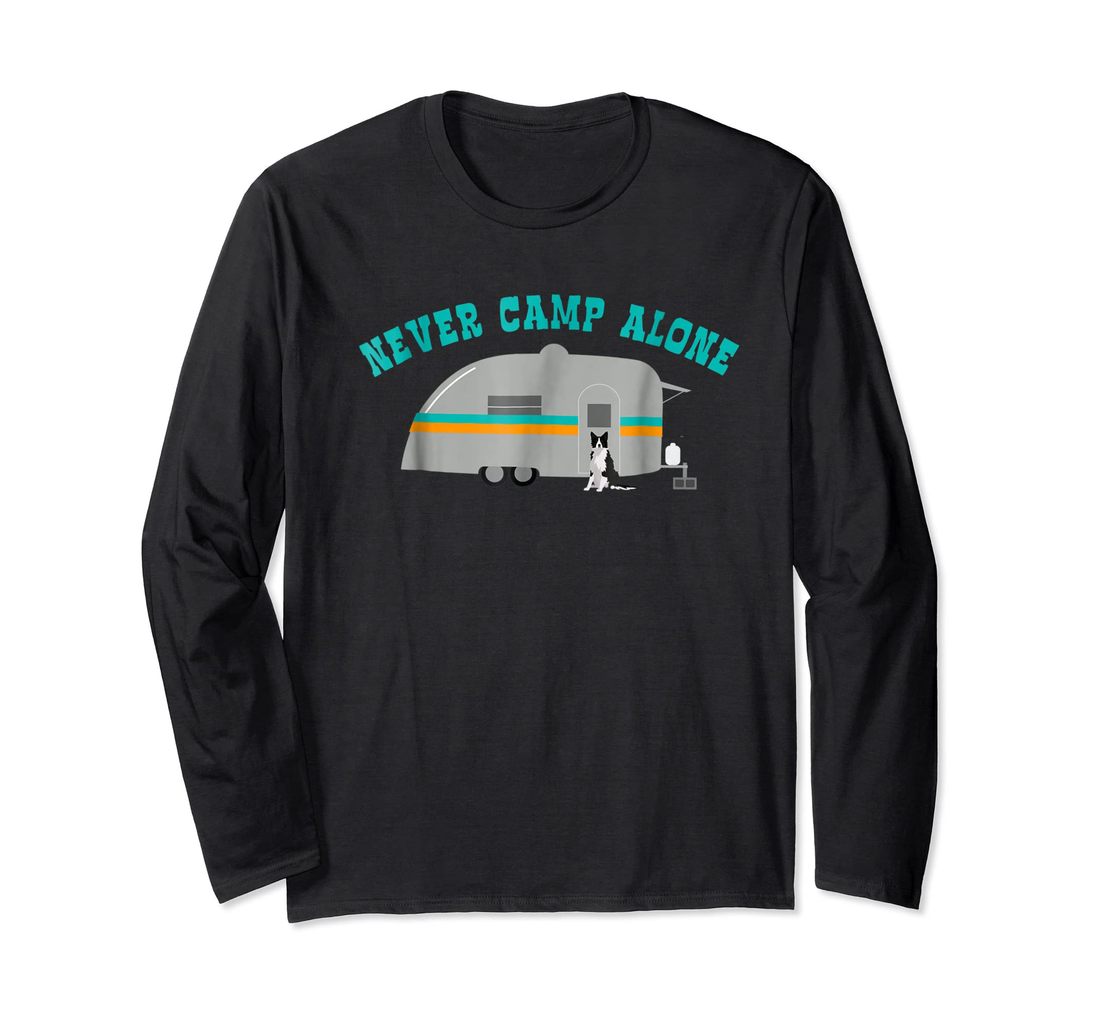 Border Collie Dog RV Shirt Funny Camping Travel Trailer-Long Sleeve-Black