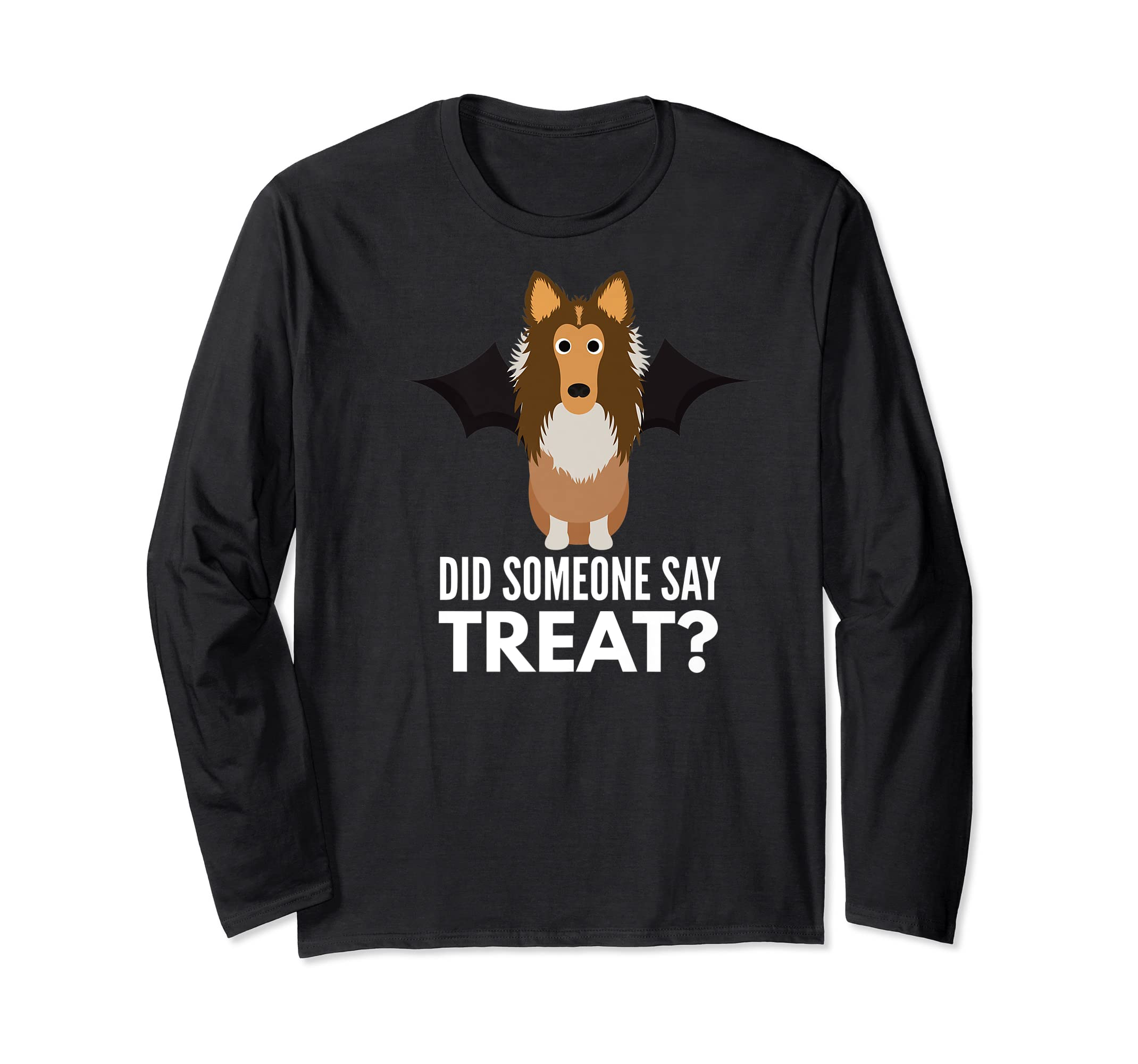 Rough Collie Halloween - Did Someone Say Treat? Premium T-Shirt-Long Sleeve-Black