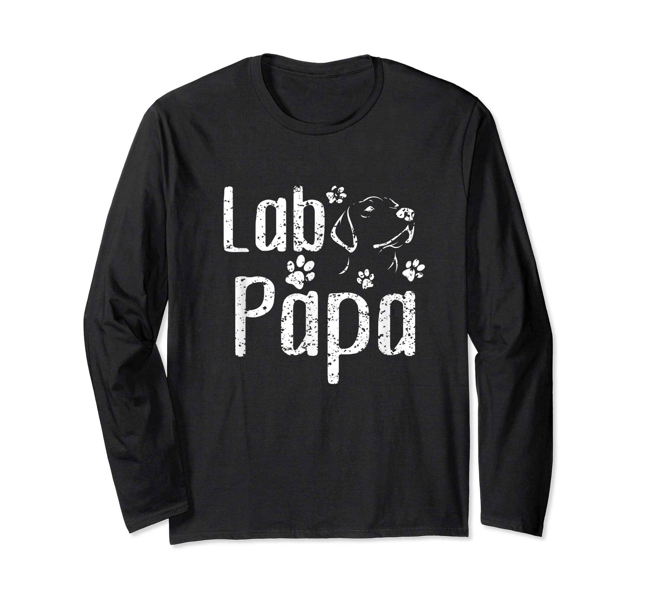 Lab Papa Labrador Retriever Vintage Tee Cute Lover Dog Dad T-Shirt-Long Sleeve-Black