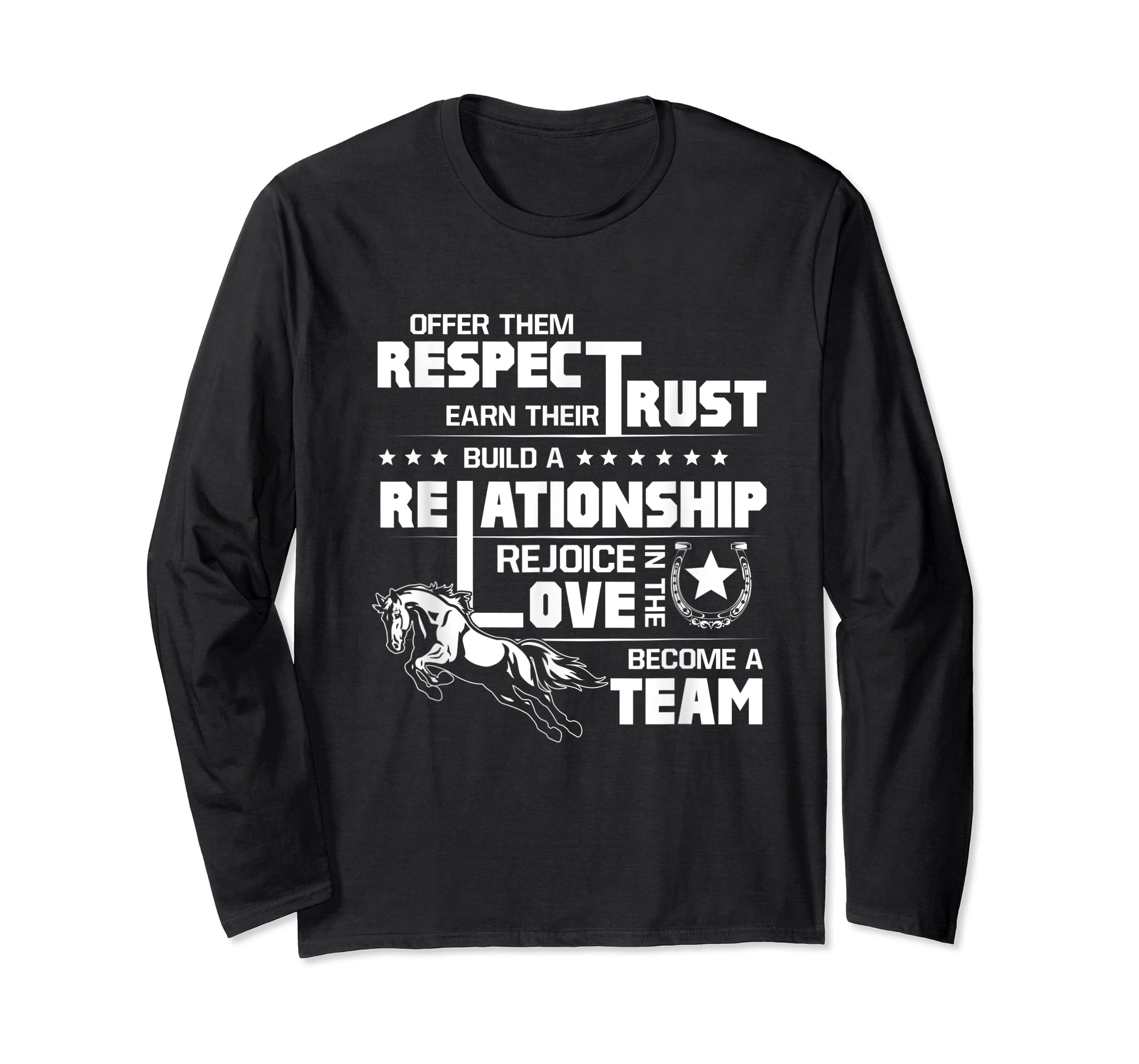 Cool Horse T-shirt with great quote for equestrian lover tee-Long Sleeve-Black