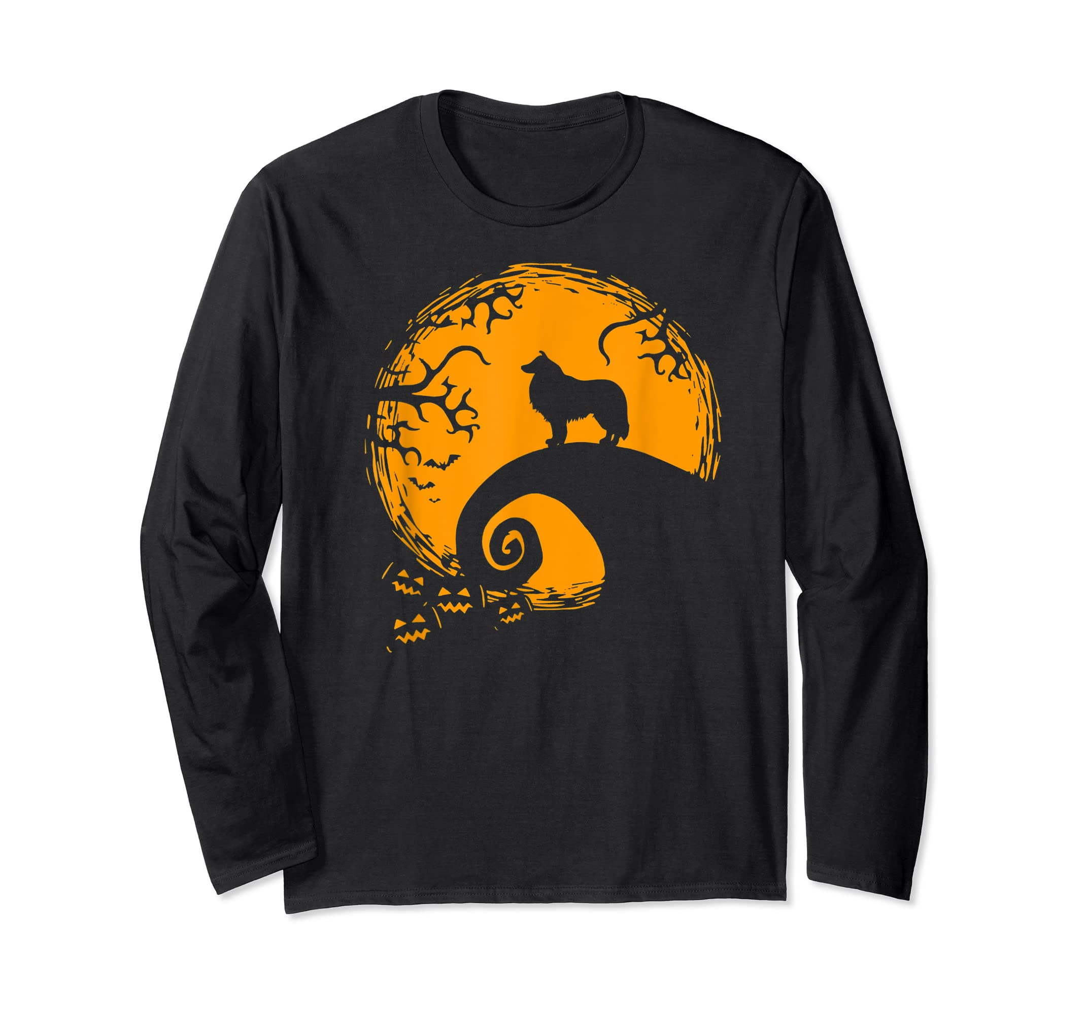 Funny Border Collie And Moon Halloween Costume Shirt-Long Sleeve-Black