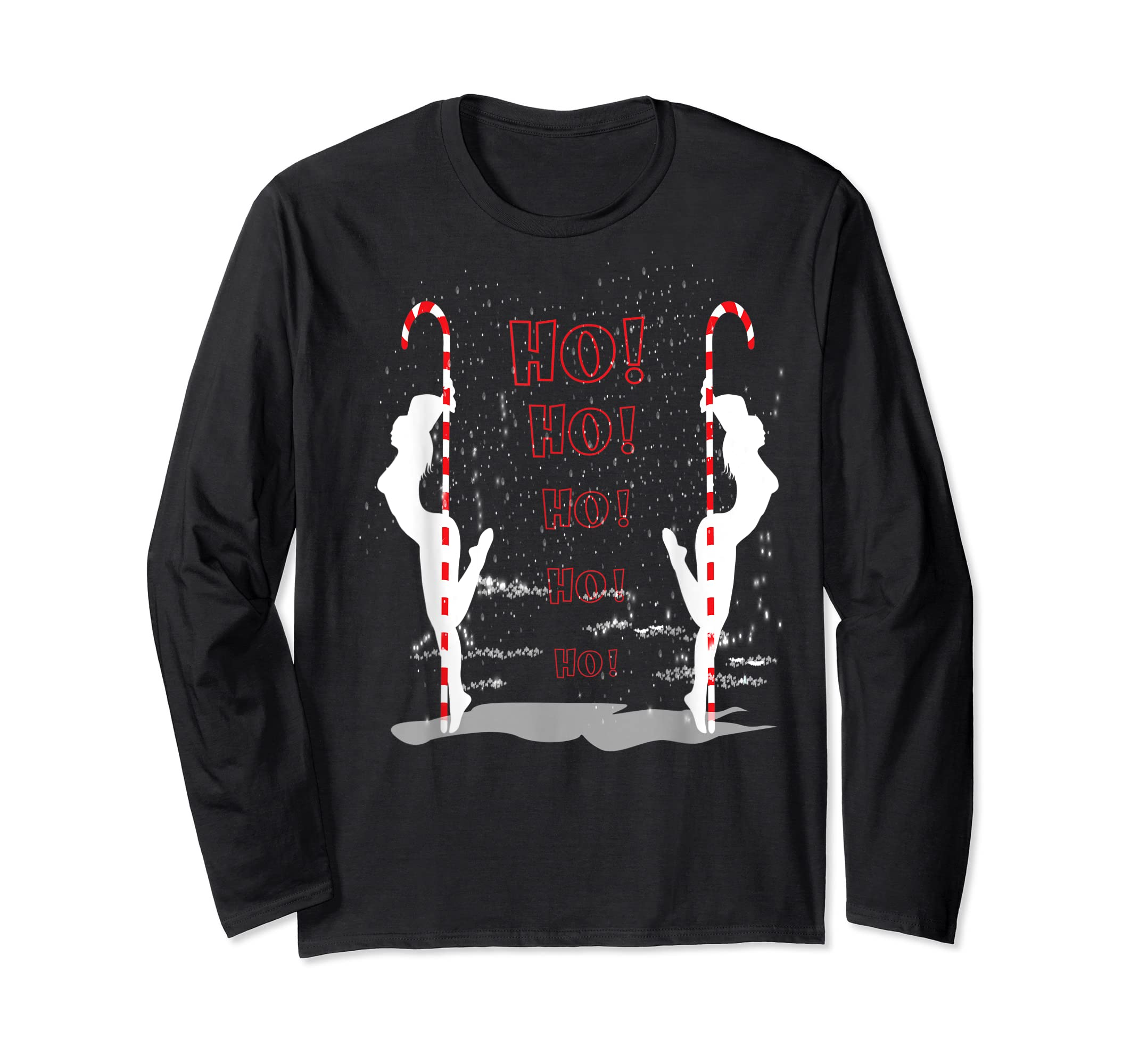 Funny Ugly Christmas Stripper Pole Dance Dancing Xmas Gift T-Shirt-Long Sleeve-Black