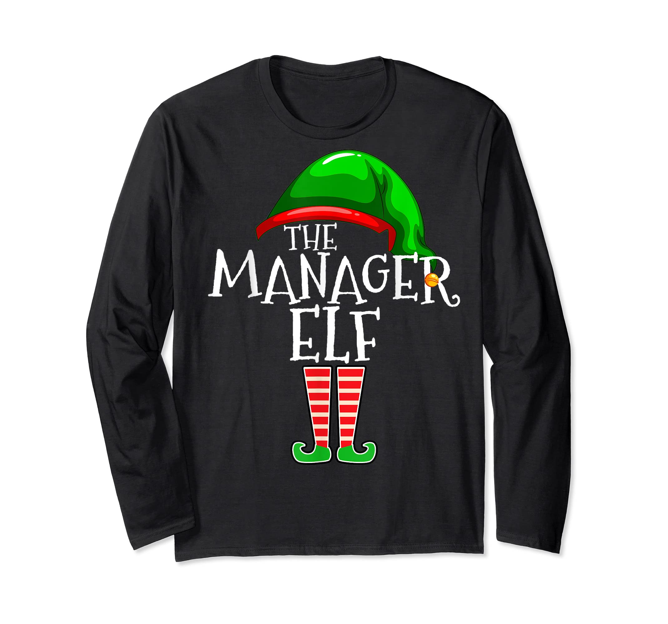 The Manager Elf Group Matching Family Christmas Gifts Boss T-Shirt-Long Sleeve-Black