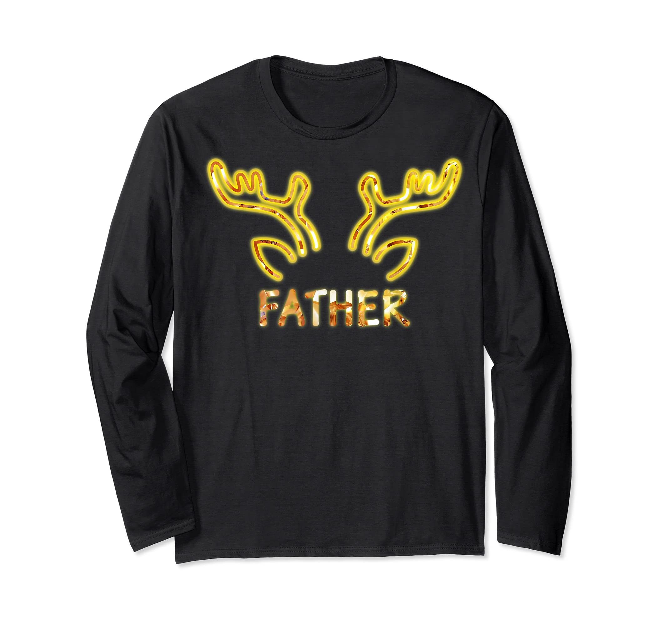 Father Reindeer Matching Family Christmas T-Shirt T-Shirt-Long Sleeve-Black