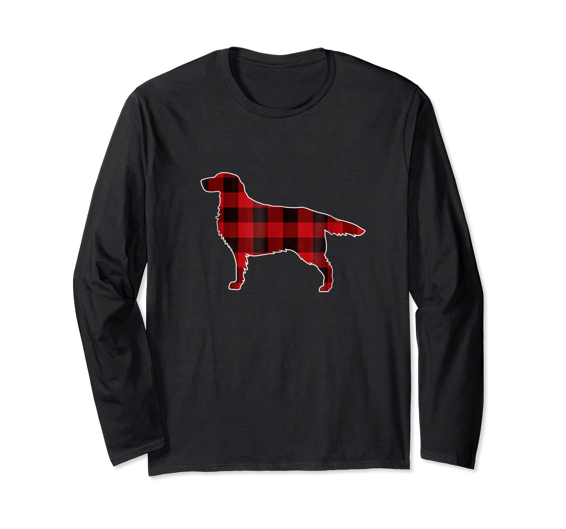 Golden Retriever Christmas T-Shirt Dog Buffalo Plaid Tee-Long Sleeve-Black