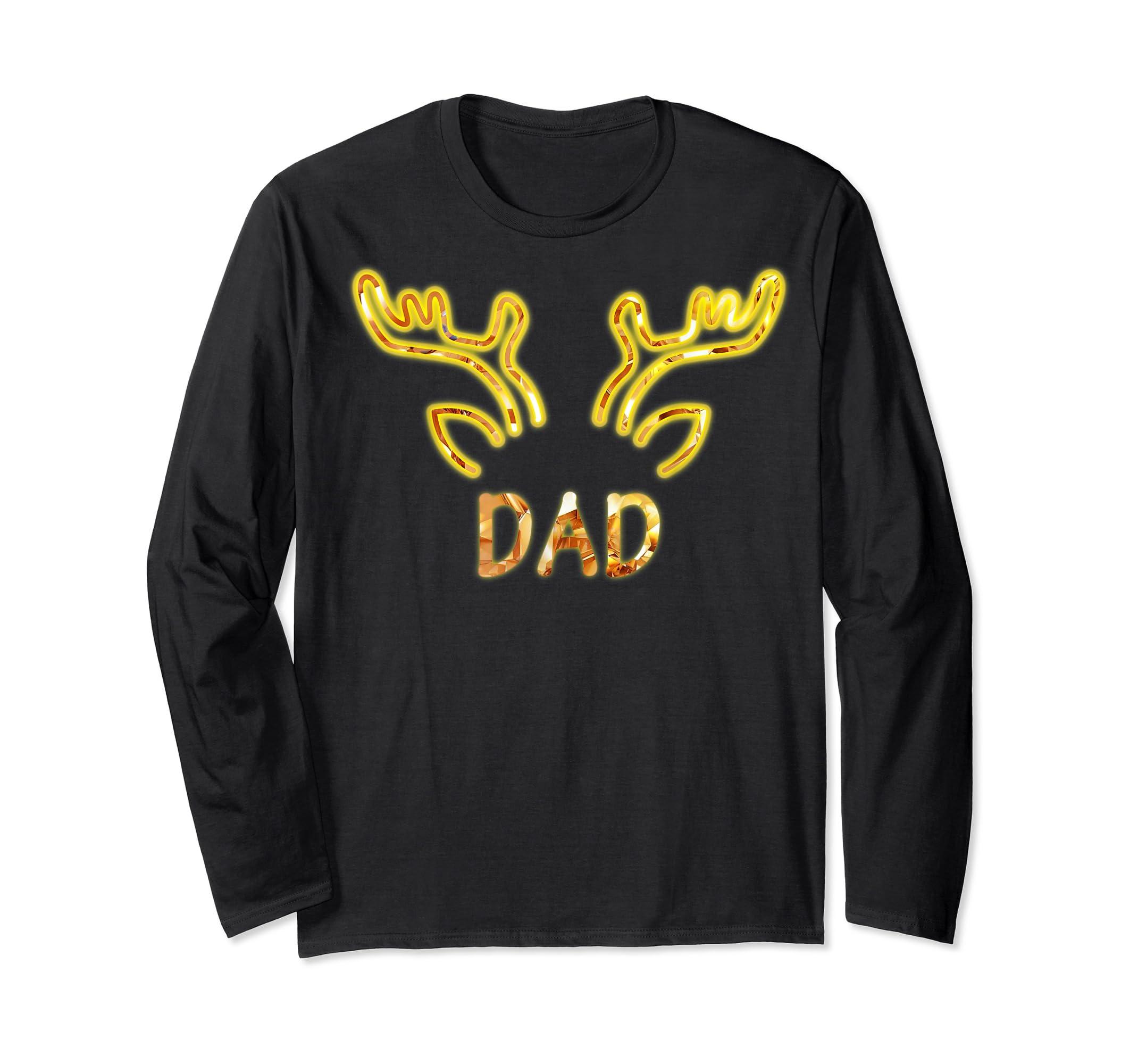 Dad Reindeer Matching Family Christmas T-Shirt T-Shirt-Long Sleeve-Black