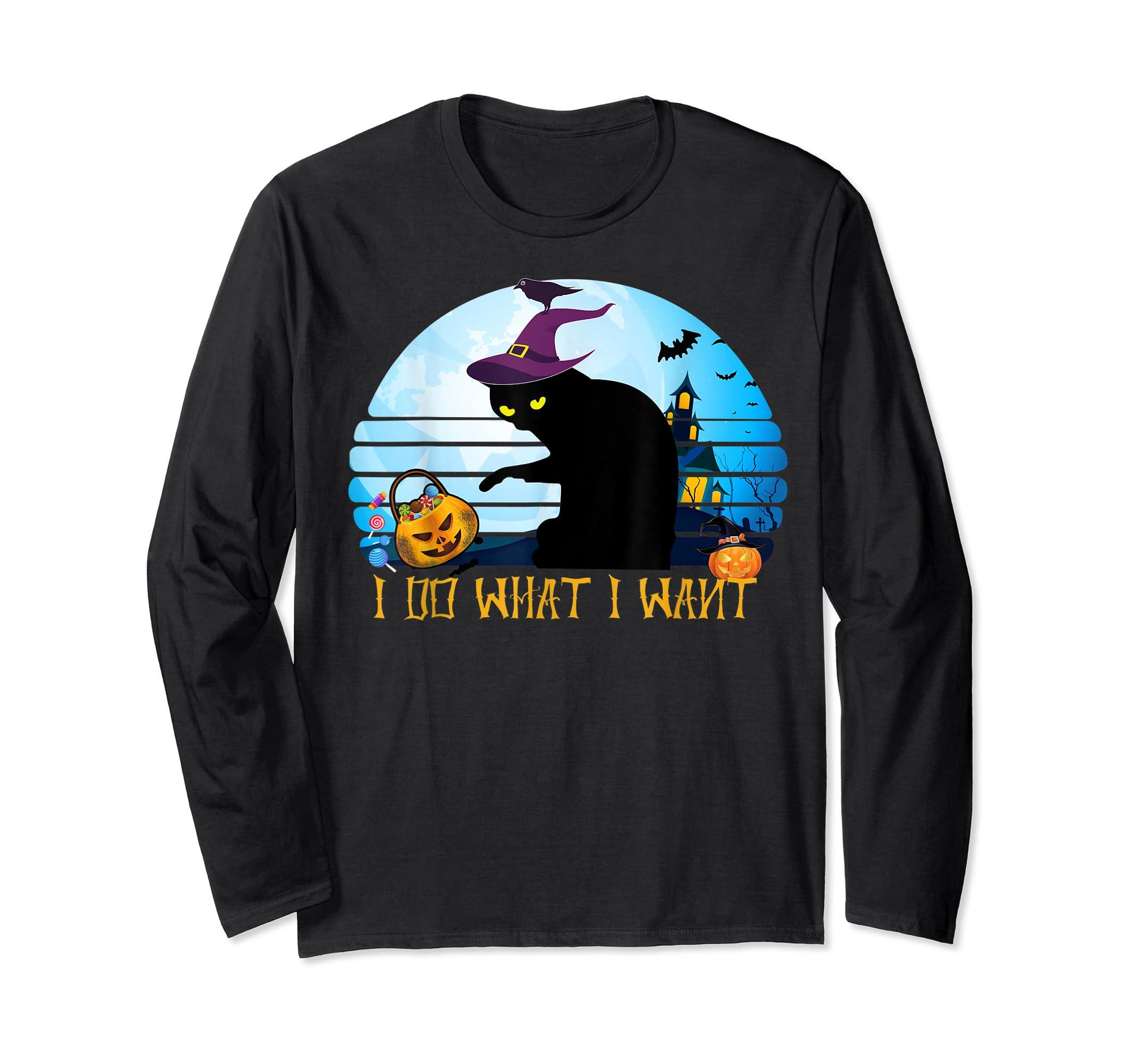 I Do What I Want Black Cat Tshirt Halloween Gift Cat Lovers-Long Sleeve-Black