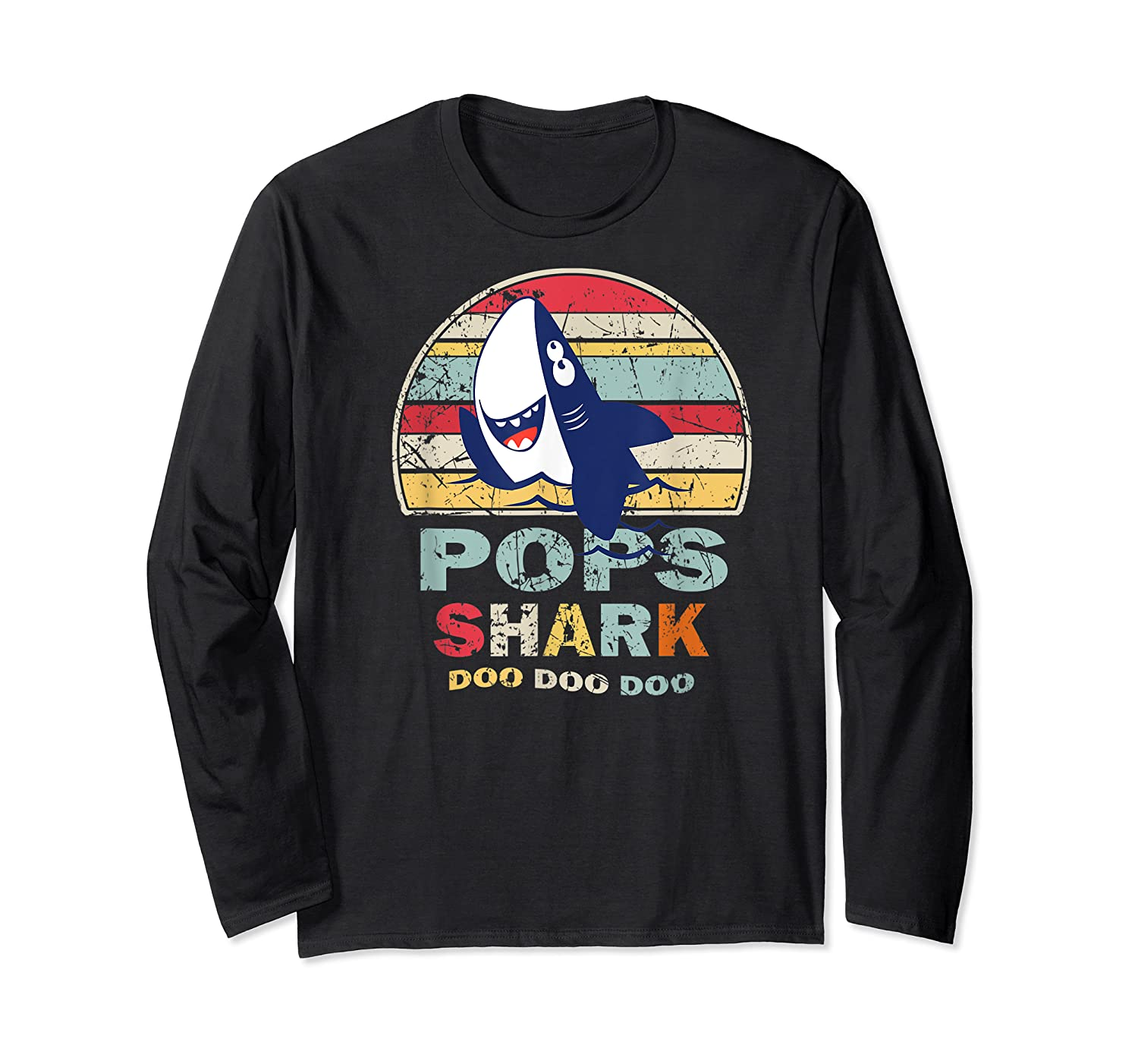 Vintage Pops Shark Fathers Day Gift For Shirts Long Sleeve T-shirt