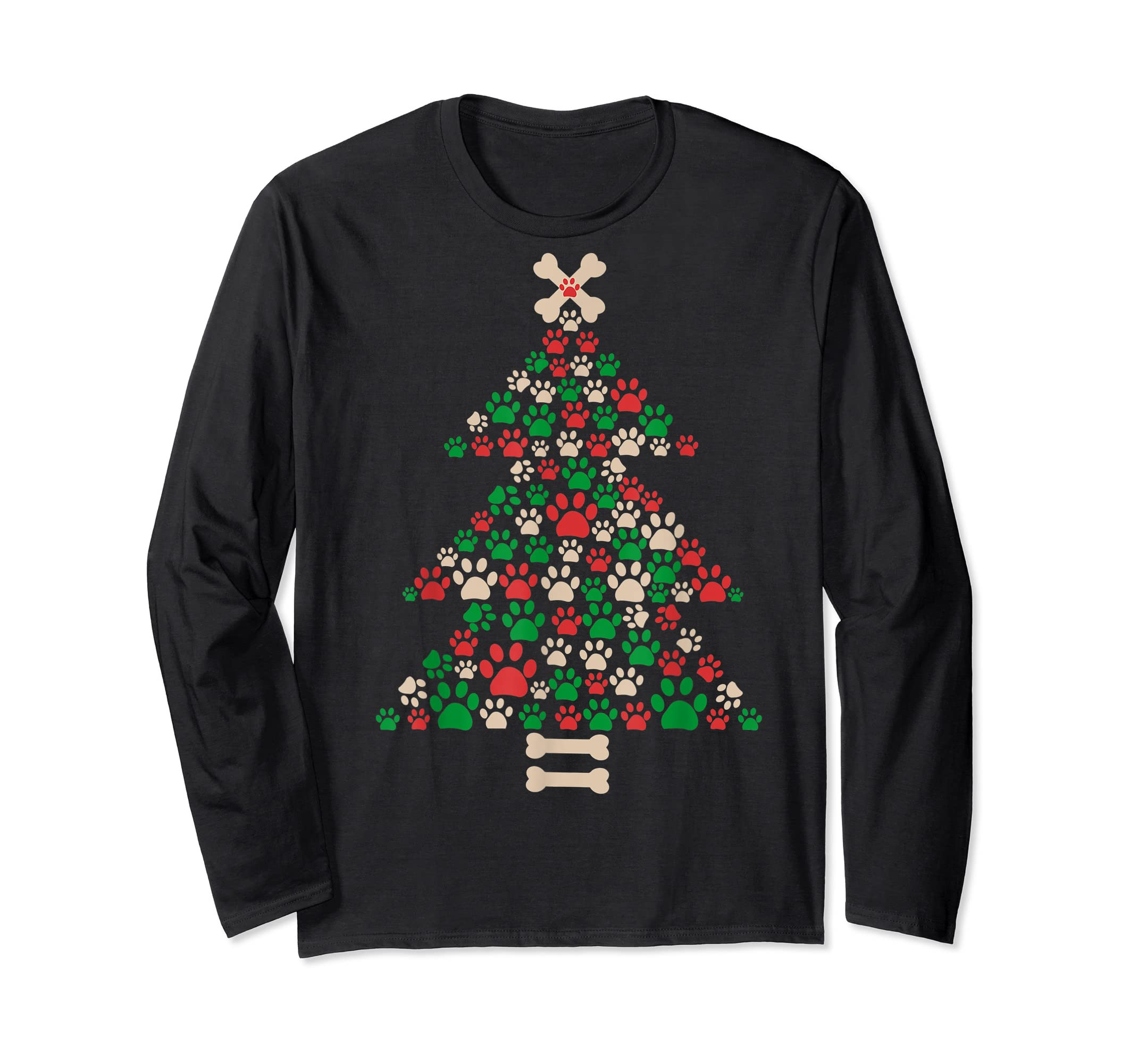 Christmas Tree Made Of Bones And Paw Prints Dog Lover T-Shirt-Long Sleeve-Black