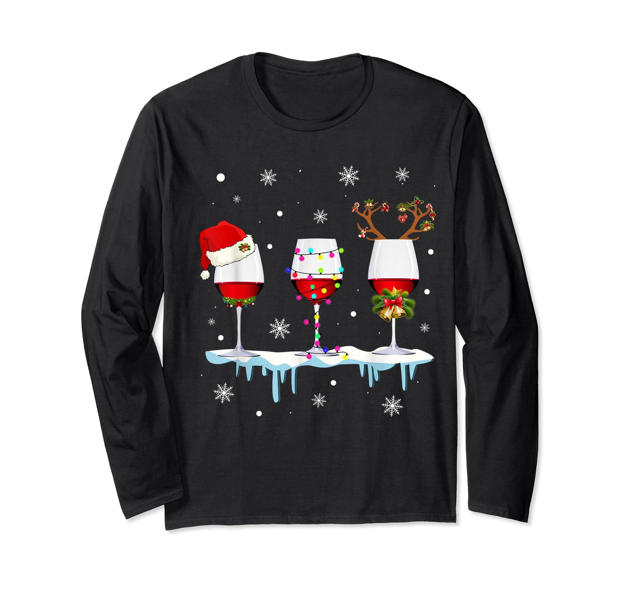 Three Glass of Red Wine Santa Hat Christmas T-Shirt-Long Sleeve-Black