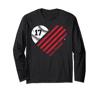 new styles 64355 fa464 Amazon.com: Kris Bryant Baseball Flag Heart Long Sleeve T ...