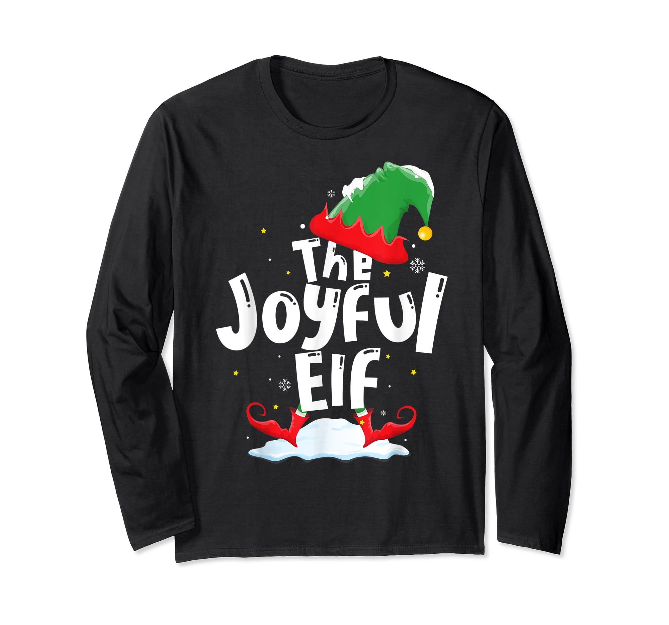 The Joyful Elf Group Matching Family Christmas Gifts Holiday T-Shirt-Long Sleeve-Black