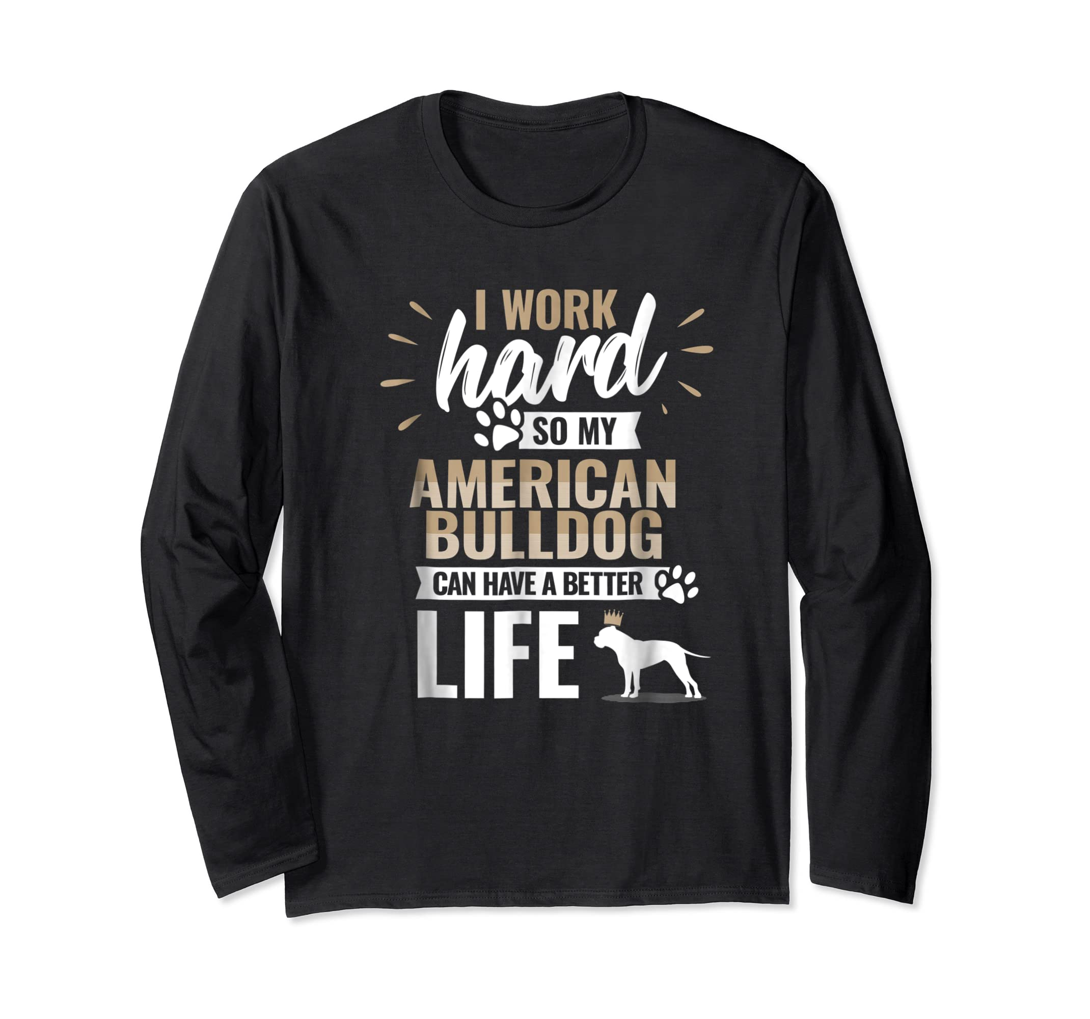 Cool Dog T-Shirt American Bulldog Owner Gift-Long Sleeve-Black