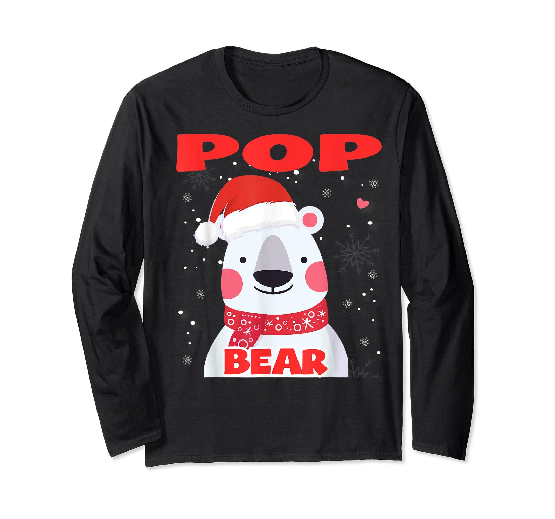 Pop Bear Christmas Grandpa Santa T-Shirt-Long Sleeve-Black