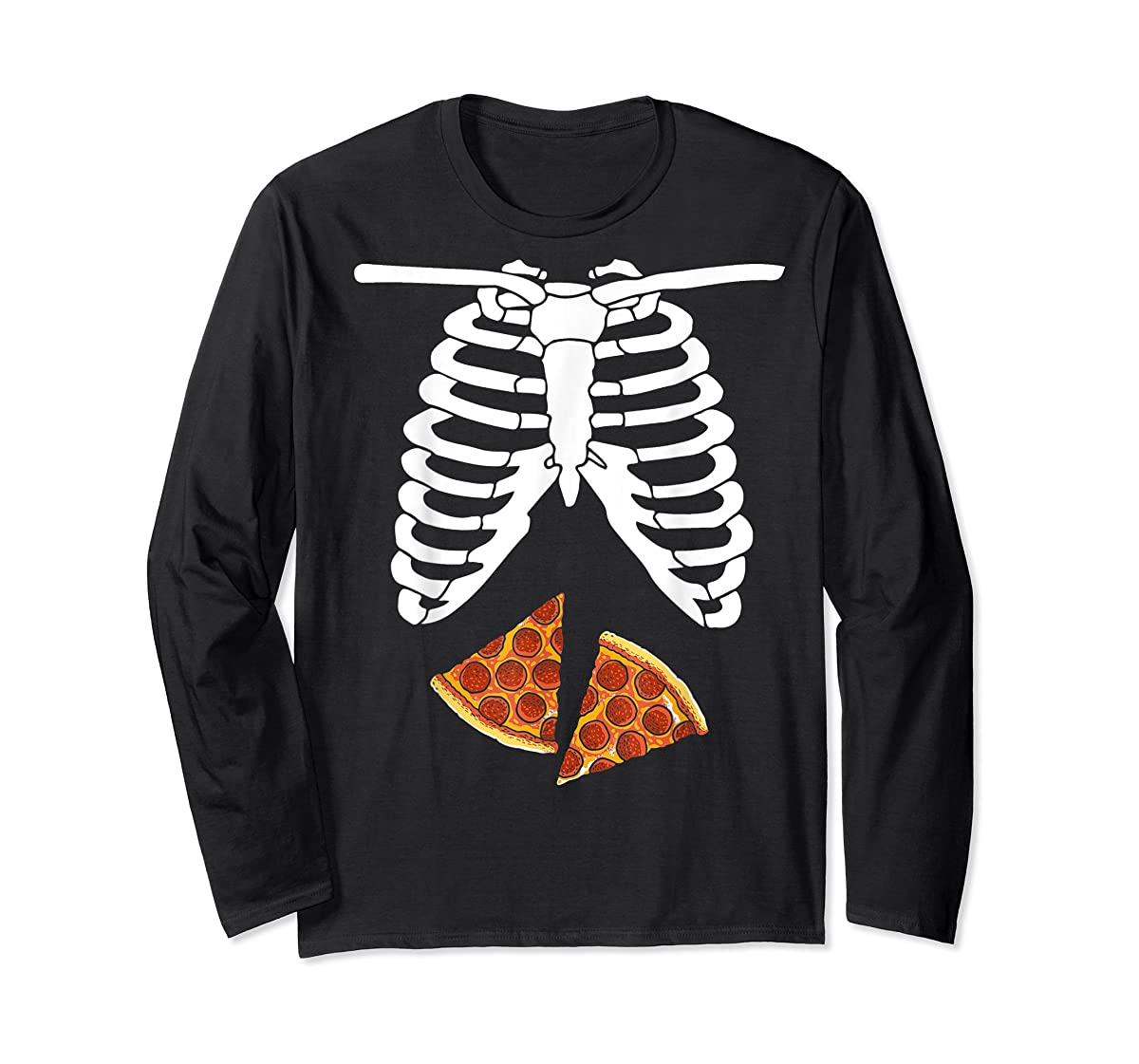 Halloween Skeleton Xray Pizza Slices Costume Rib Cage Easy T-Shirt-Long Sleeve-Black