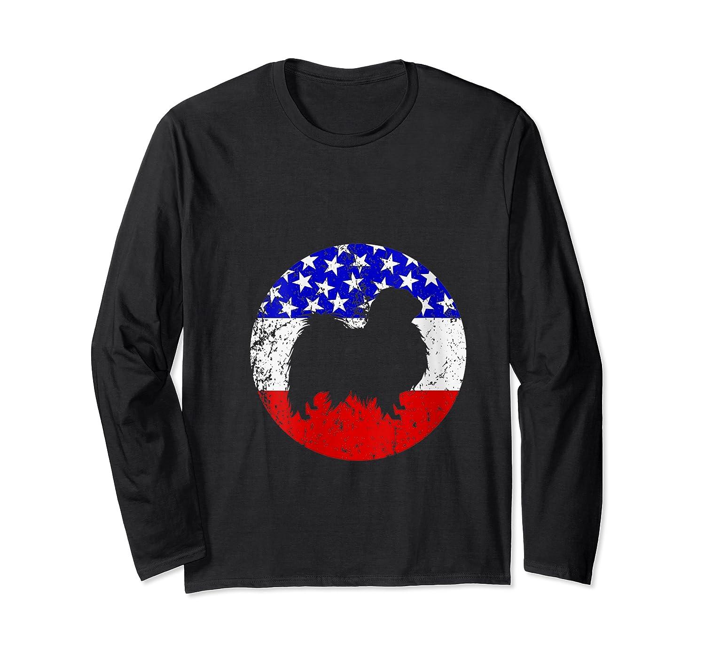 American Flag Japanese Chin Vintage Retro Japanese Chin Dog Shirts Long Sleeve T-shirt