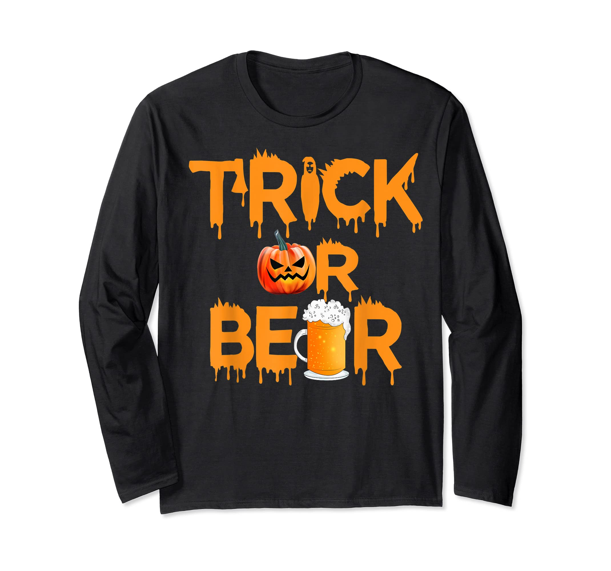 Halloween Costume Trick or Beer Drinking T Shirt Pumpkin Men T-Shirt-Long Sleeve-Black
