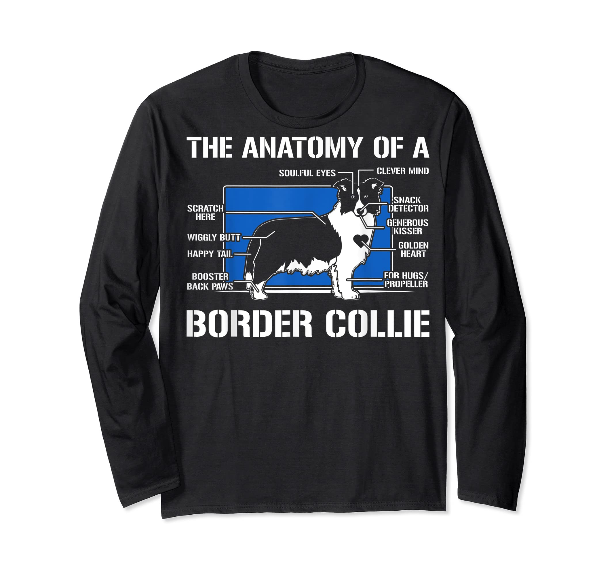 The Anatomy Of A Border Collie T shirt-Long Sleeve-Black